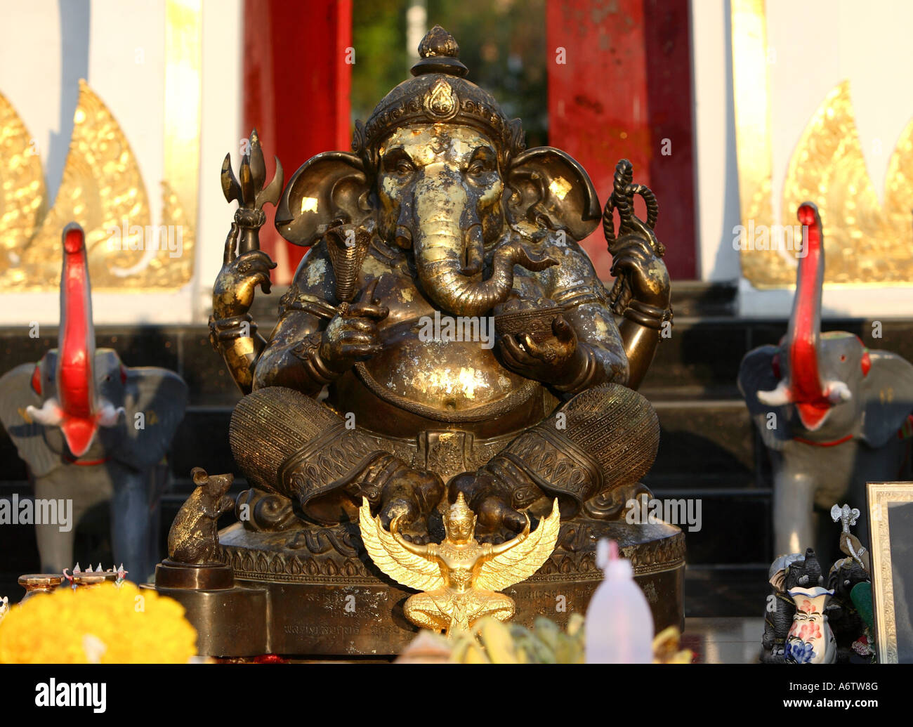 Ganesha figure inside a temple of Sanam Chandra Palace Park in Nakhon Pathom, Thailand, Asia Stock Photo