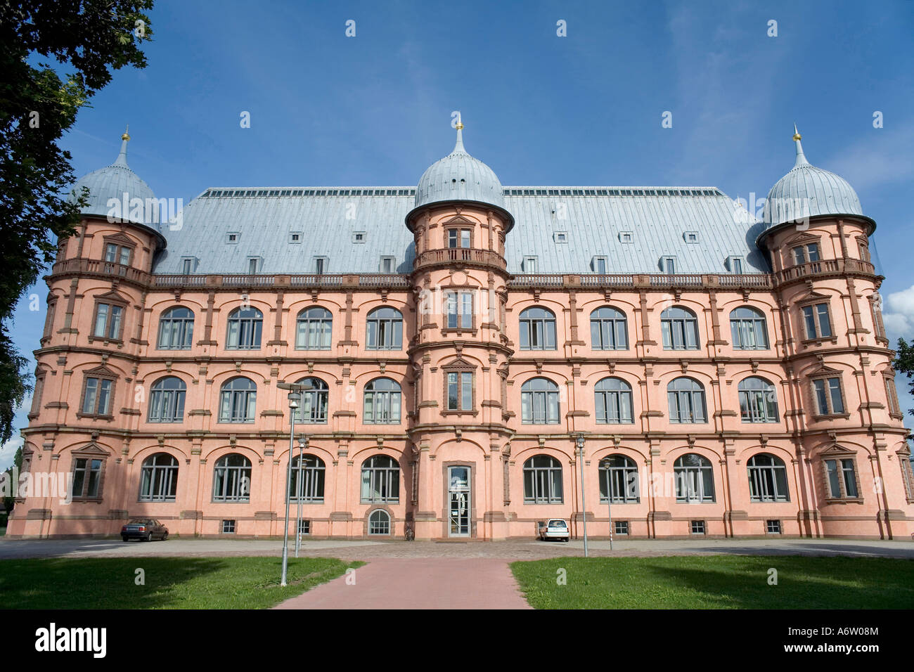 West view of castle Gottesaue, college for music, Karlsruhe, Baden-Wuerttemberg, Germany Stock Photo