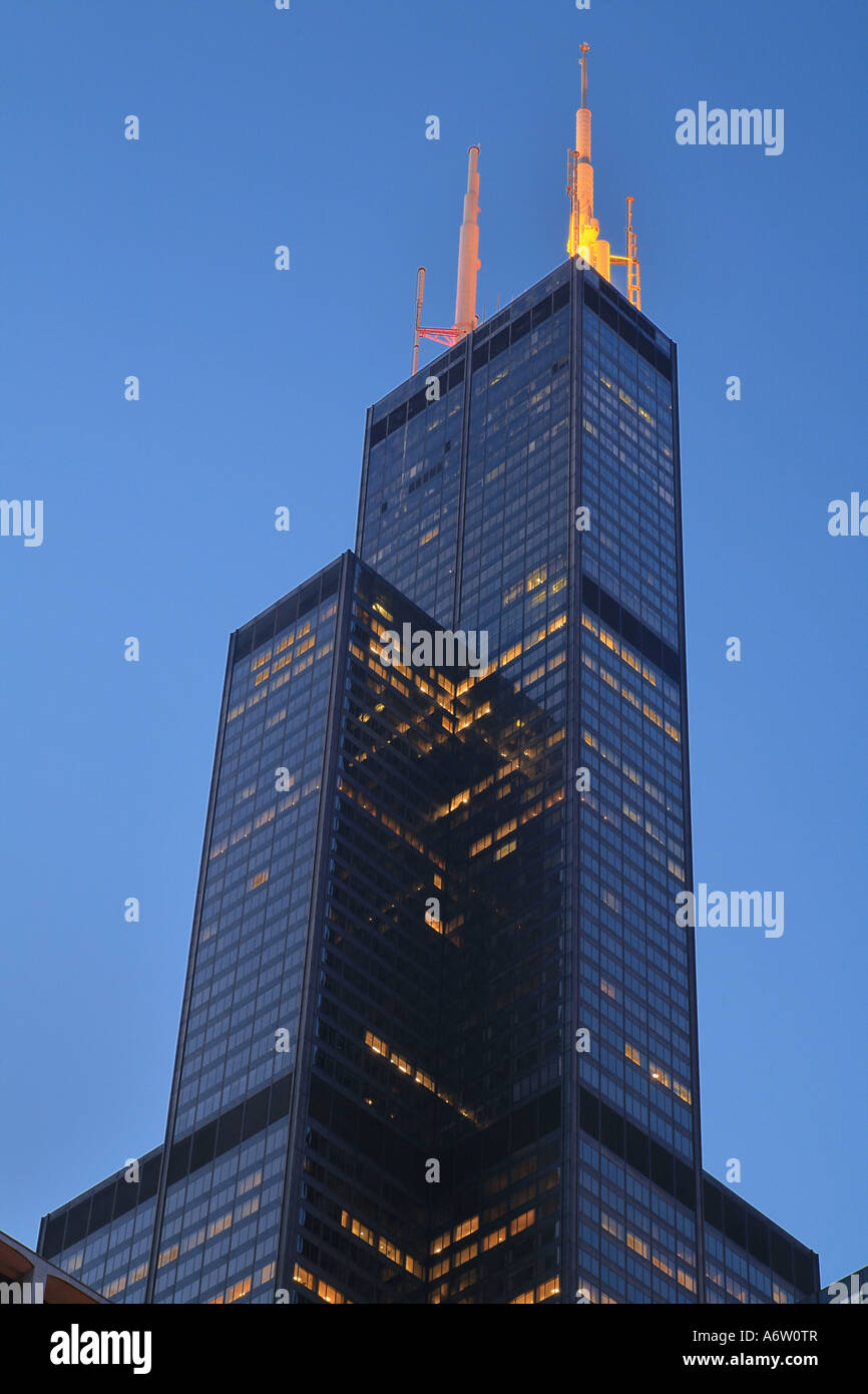 After Chicago's nomination for the olympic summer games of 2016, the Sears Tower's Antennas are illuminated - Stock Image