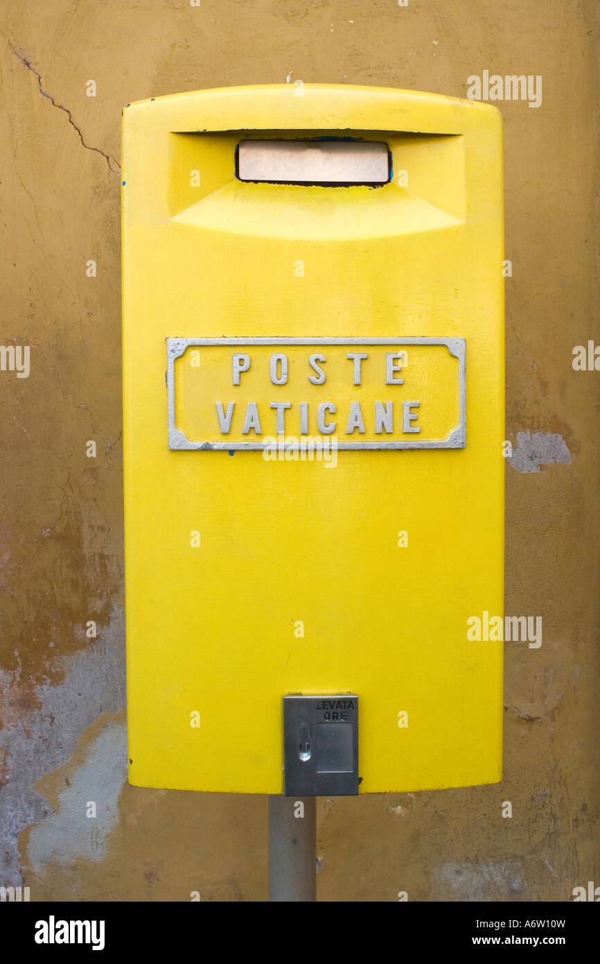 Yellow Mailbox of the Vatican Post (Poste Vaticane), Vatican, Rome, Italy Europe Stock Photo