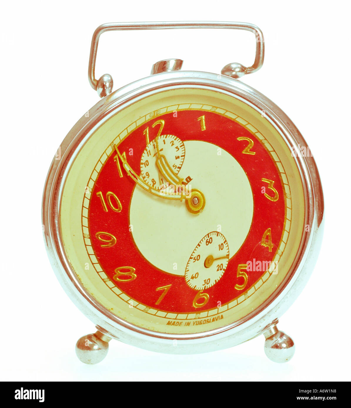 old alarm clock effect clock face five minutes bevor twelve