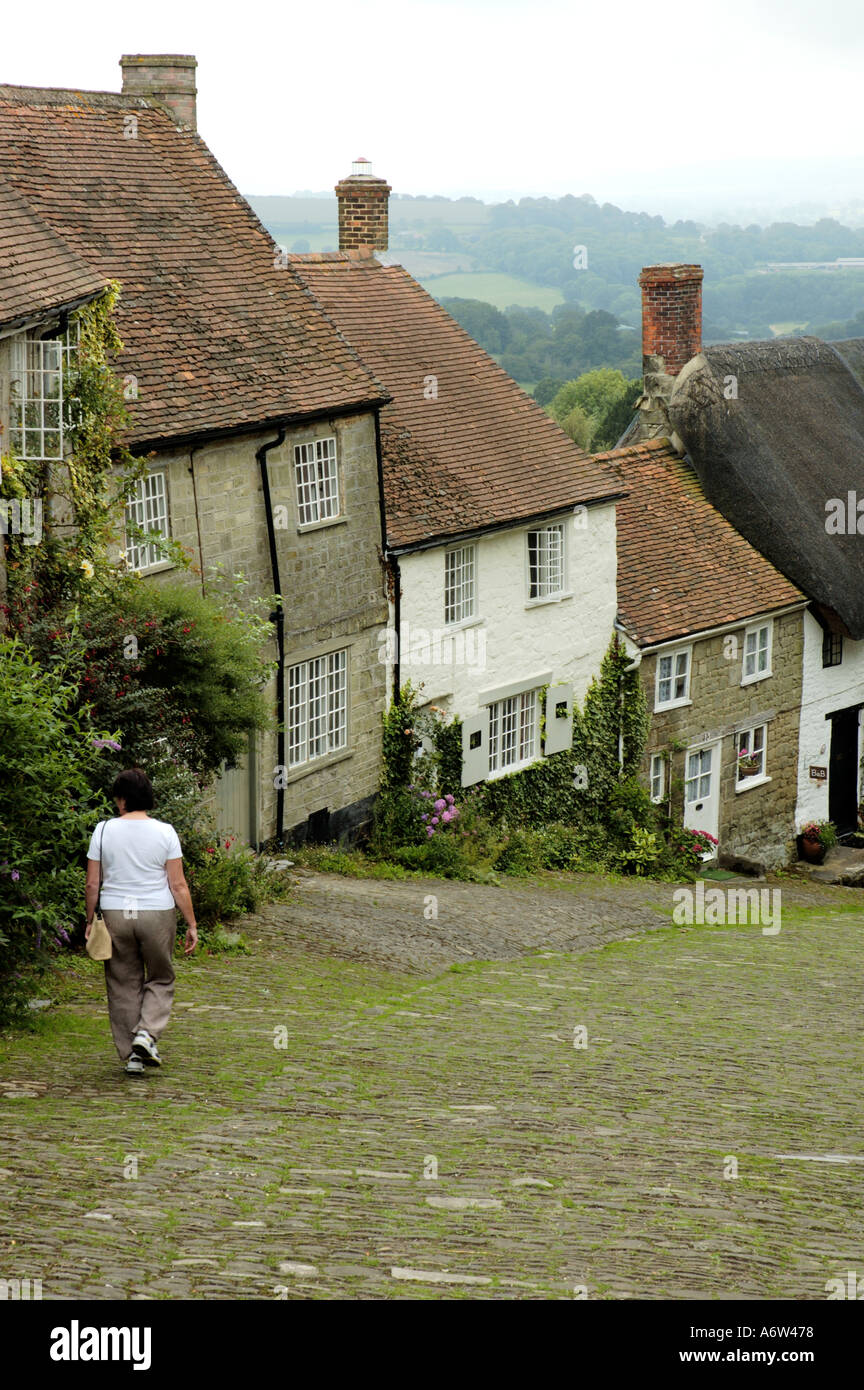 Gold Hill Shaftesbury Dorset England UK Great Britain Famous bread advert Hovis - Stock Image