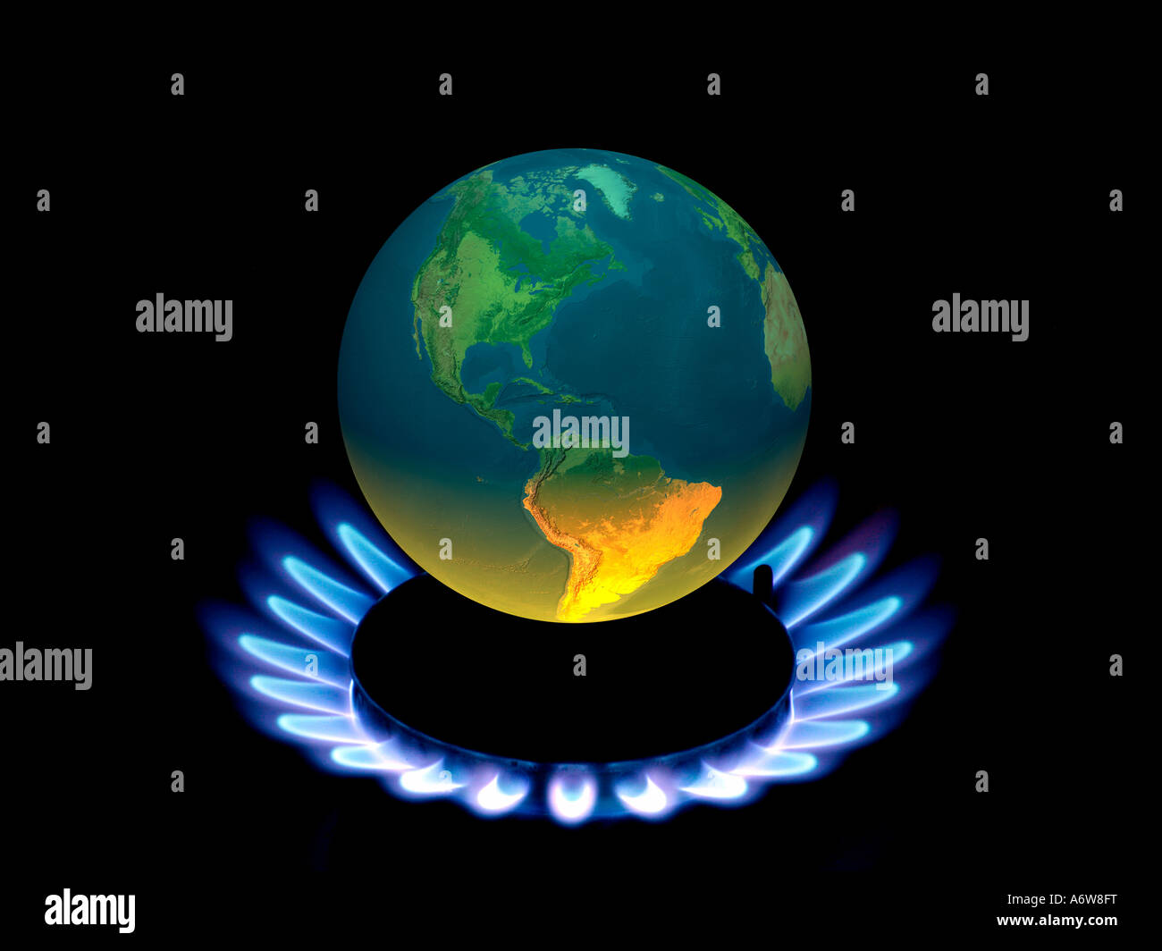 Earth Globe With Flames Symbol For Global Warming Climate Change