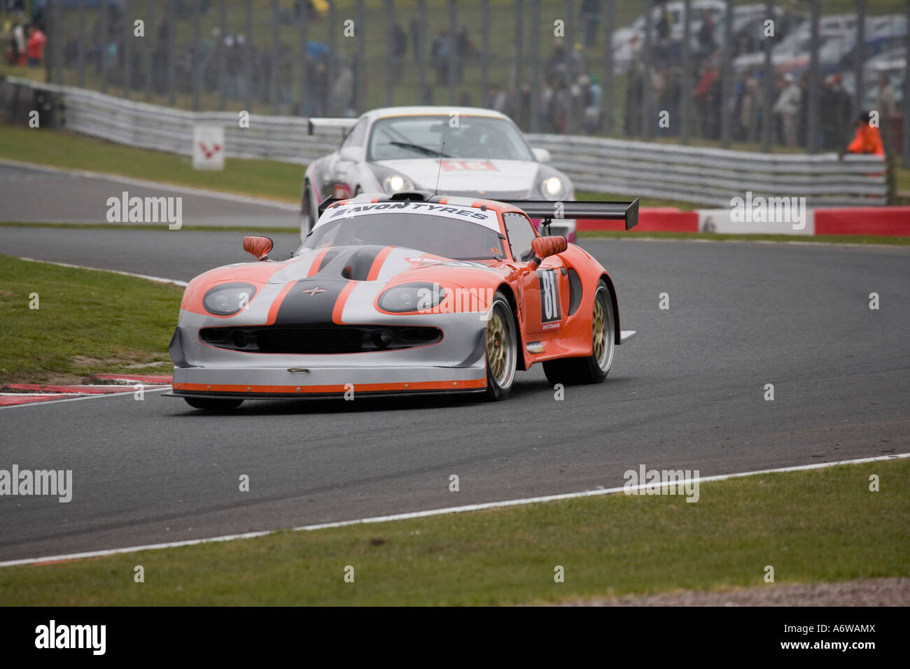 Marcos Mantis leading a Porsche 997 GT3 at Oulton Park GT Racing ...