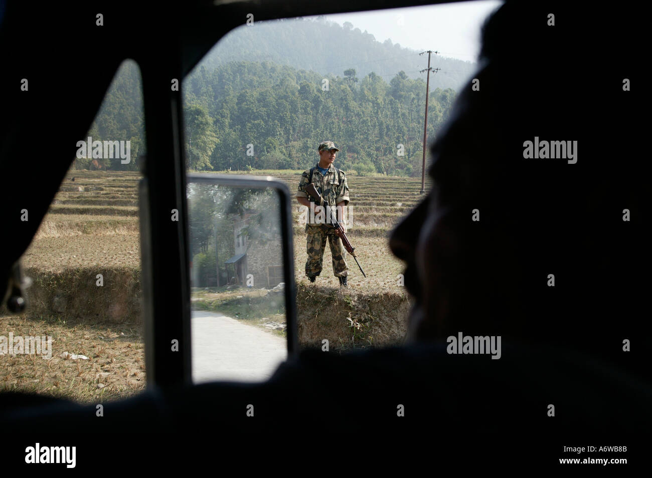 Asia Nepal November 2003 Government soldiers create roadblocks - Stock Image