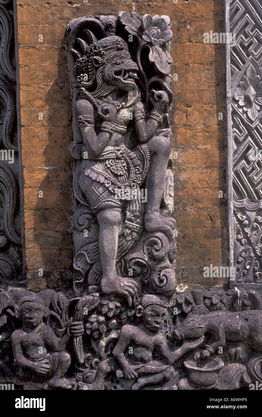 Asia indonesia bali stone wall carvings stock photo