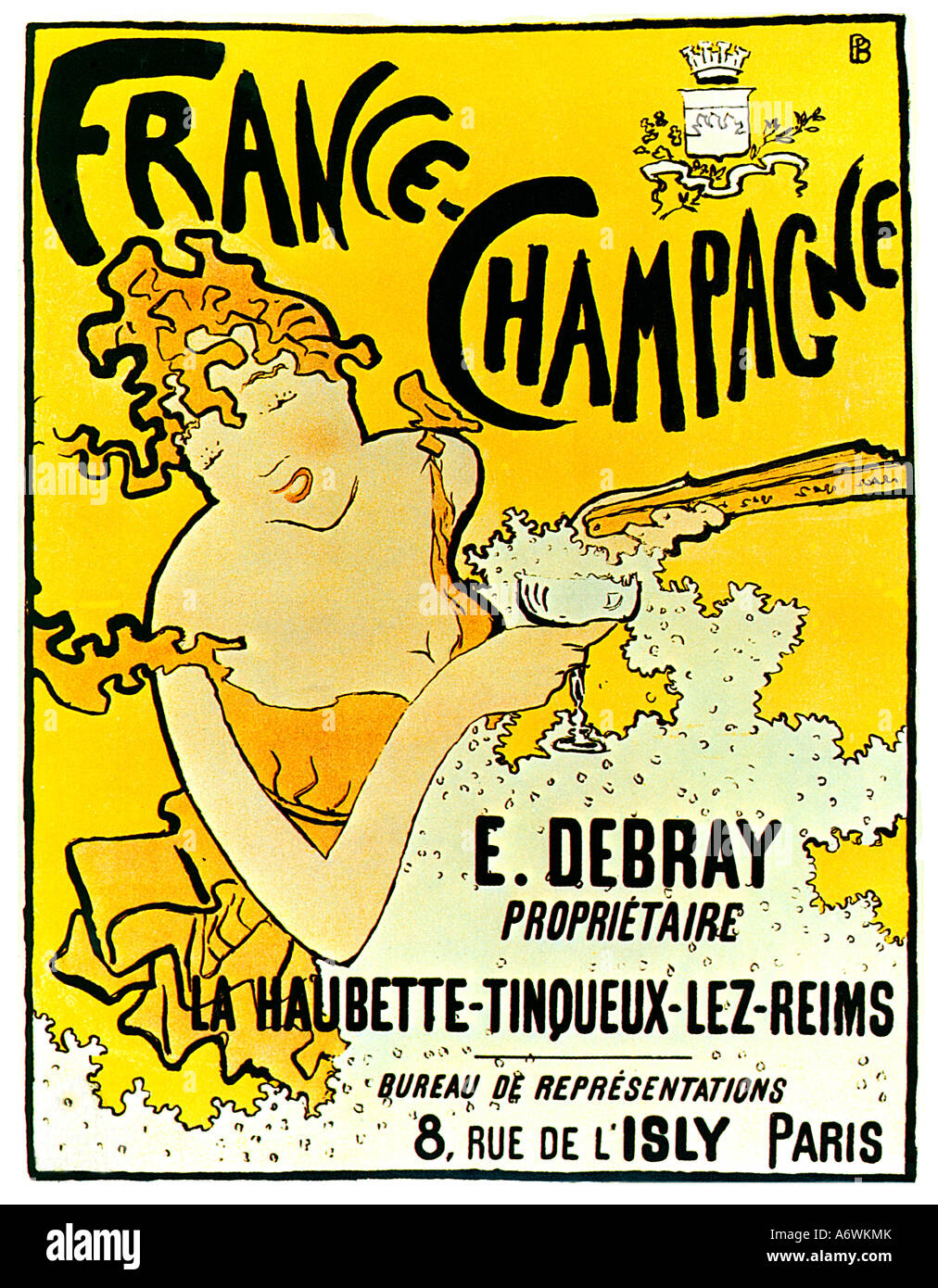 France Champagne famous Art Nouveau poster by Pierre Bonnard for Debray his first commercial success as an artist - Stock Image
