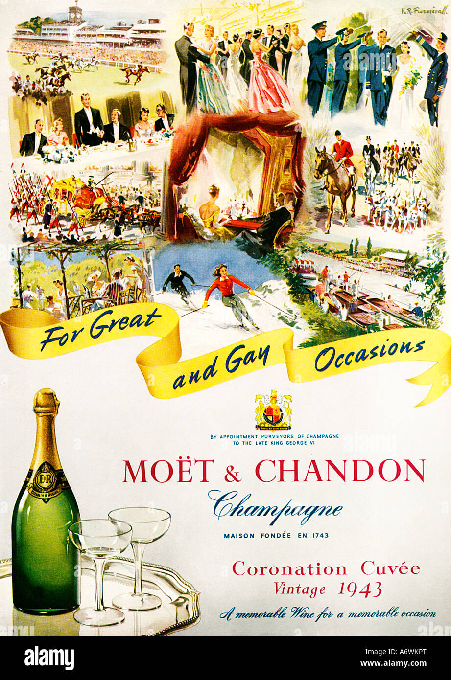 Moet Chandon Coronation year English advert for the French Champagne vintage 1943 For Great And Gay Occasions - Stock Image