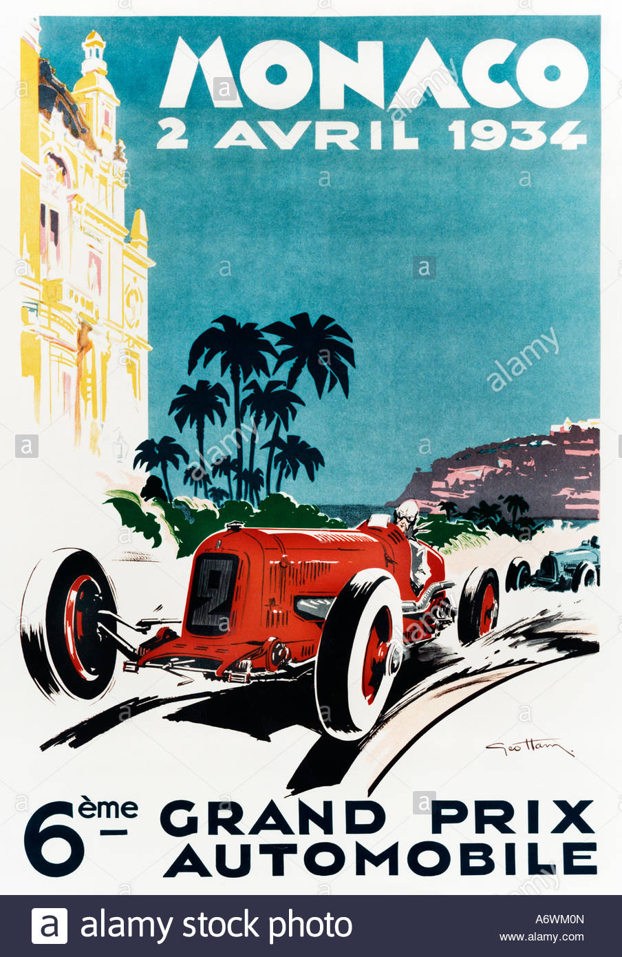Monaco Grand Prix 1934, Poster for the 6th Monte Carlo race with the red  Maserati 8C/M driven by Lord Howe ahead of a blue Bugatti