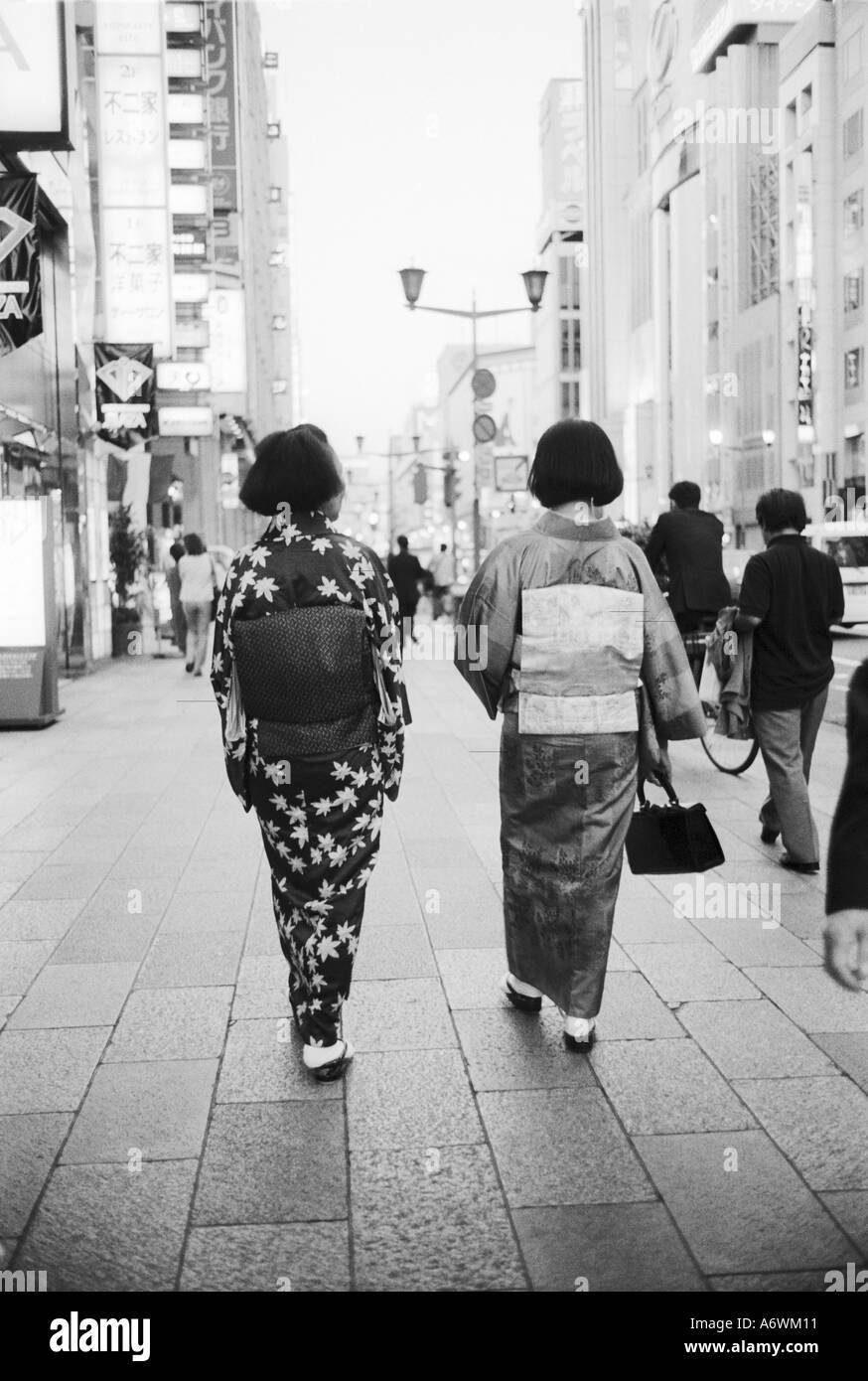 Asia, Japan, Tokyo. Geishas on the Ginza. Stock Photo
