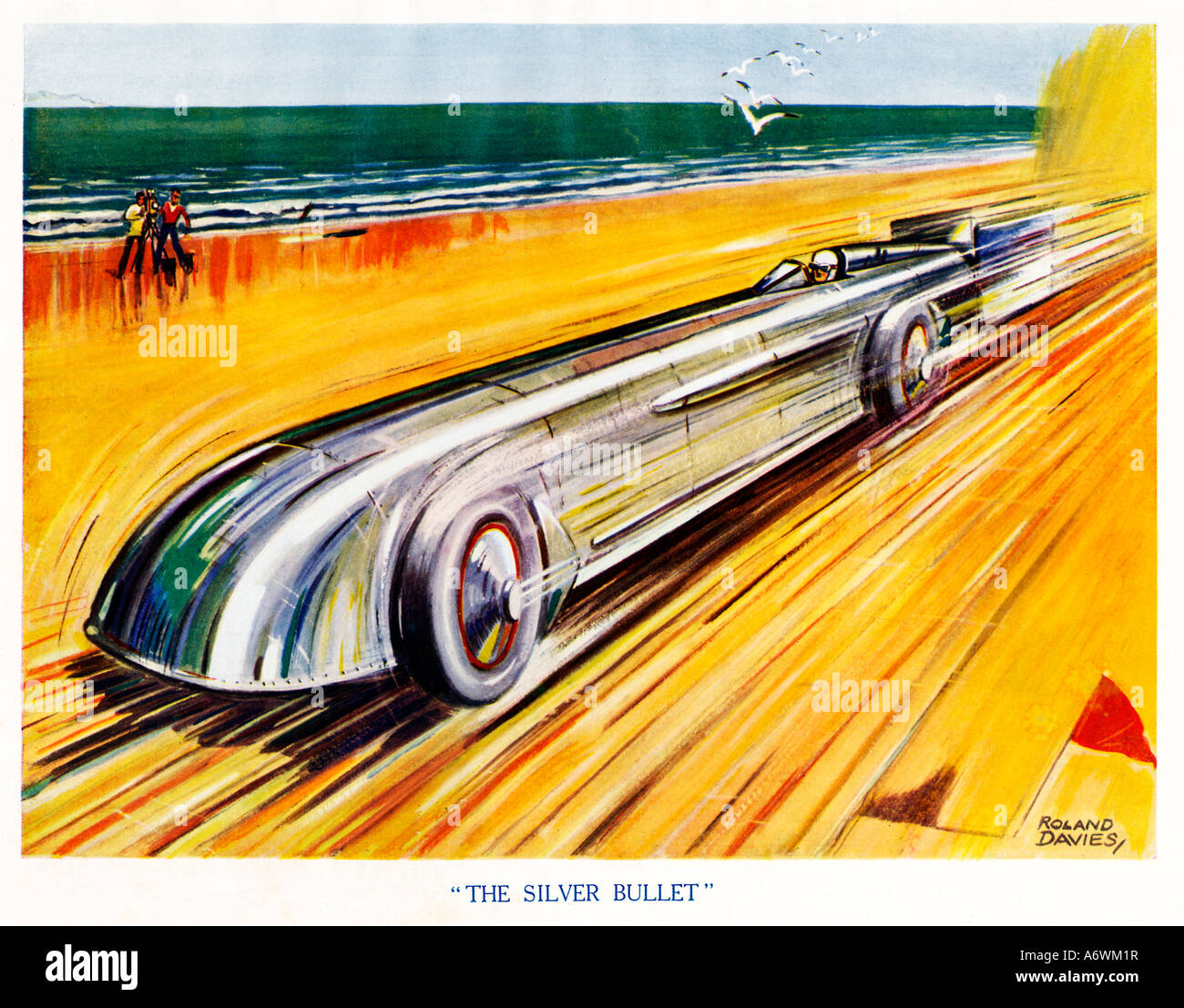 Land Speed Record Car Stock Photos Circuit Map For Bromyard Festival The Silver Bullet 1930 Boys Comic Book Illustration Of An Attempt At