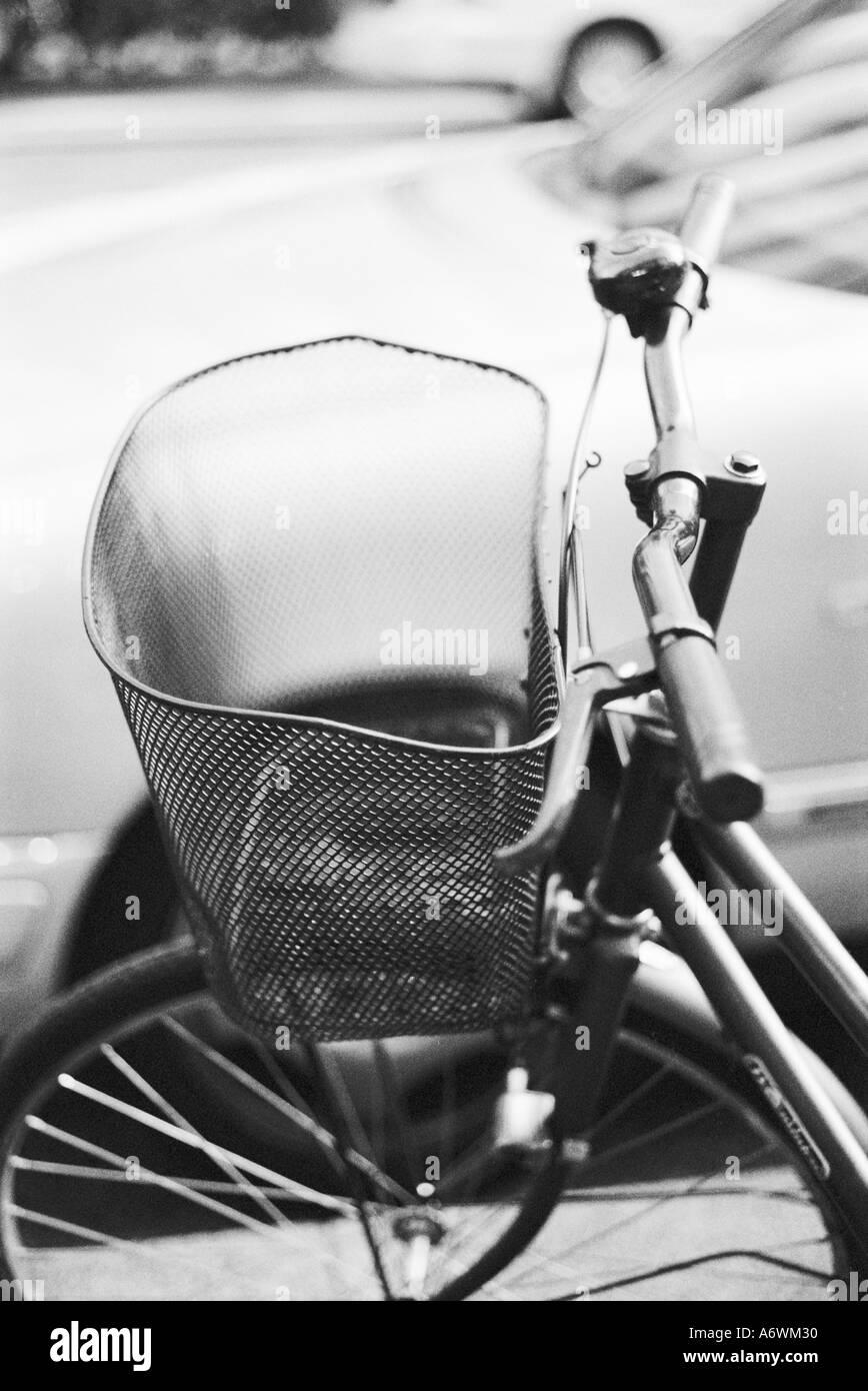 Asia, Japan, Tokyo. Bike basket in the Ginza Stock Photo