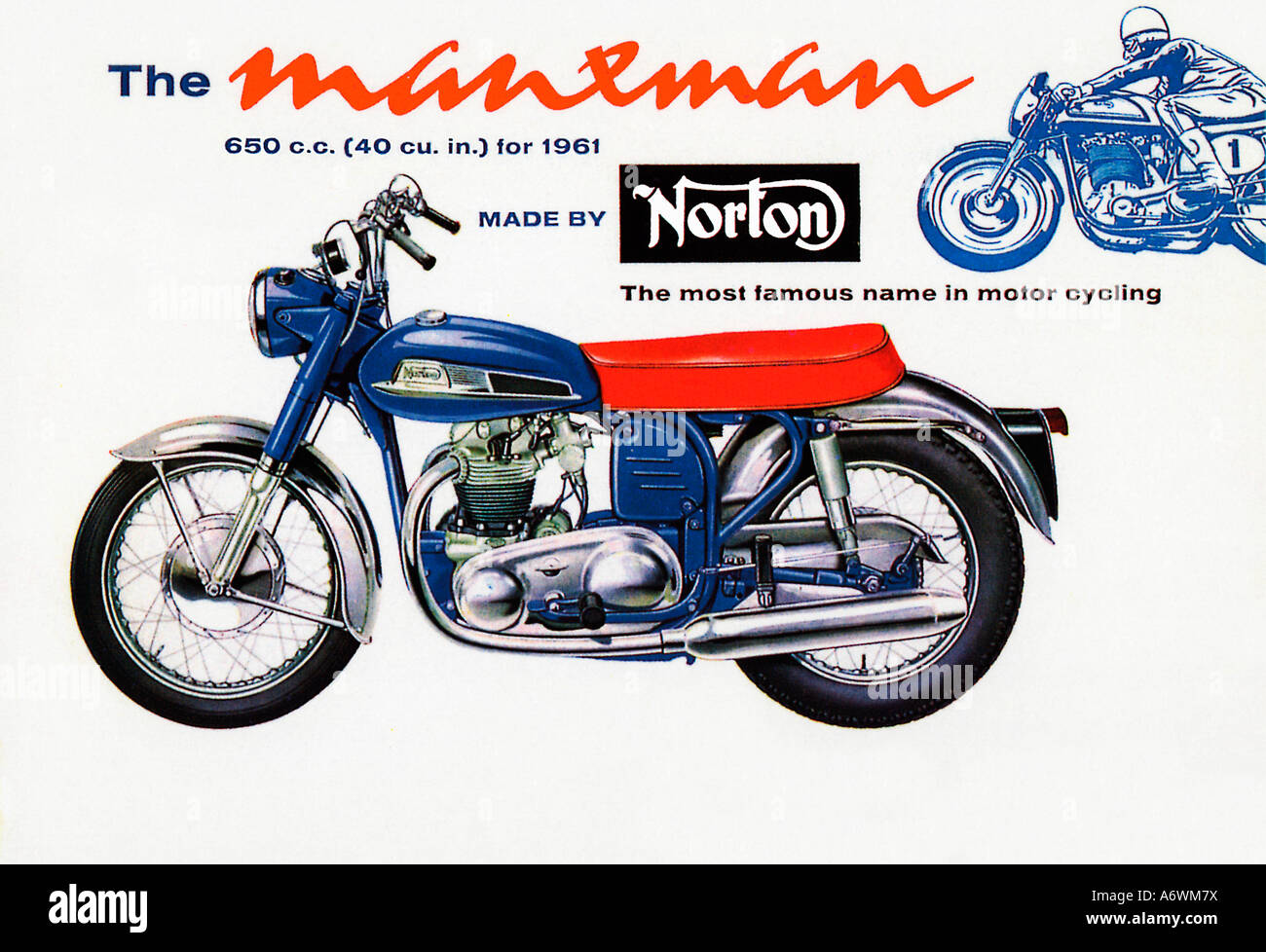 Norton Manxman 1961 Advert for the famous English motor cycle as seen in the Isle of Man TT - Stock Image