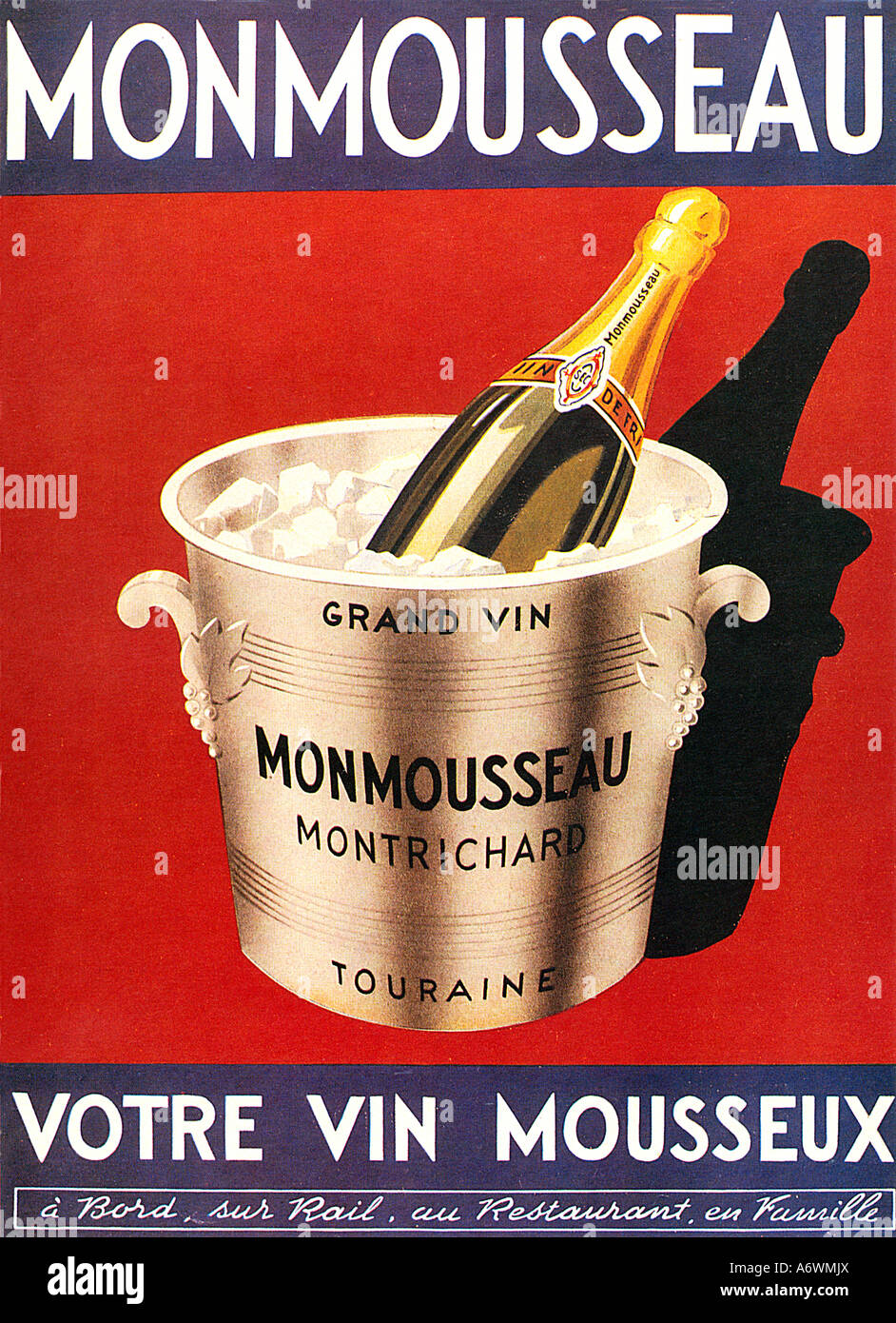 Monmousseau 1940s Poster For The French Sparkling Wine From Loire Produced By Methode Champenois