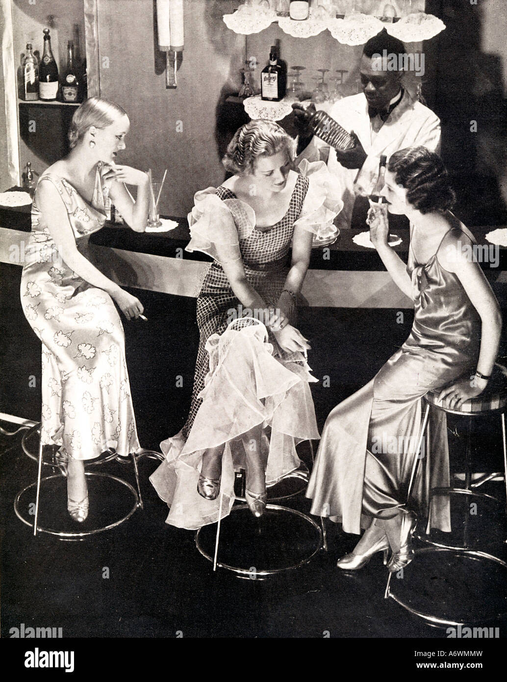 Cocktail Bar 1934 Fashion Photo Of Three Evening Gowned Ladies Waiting At The For Their