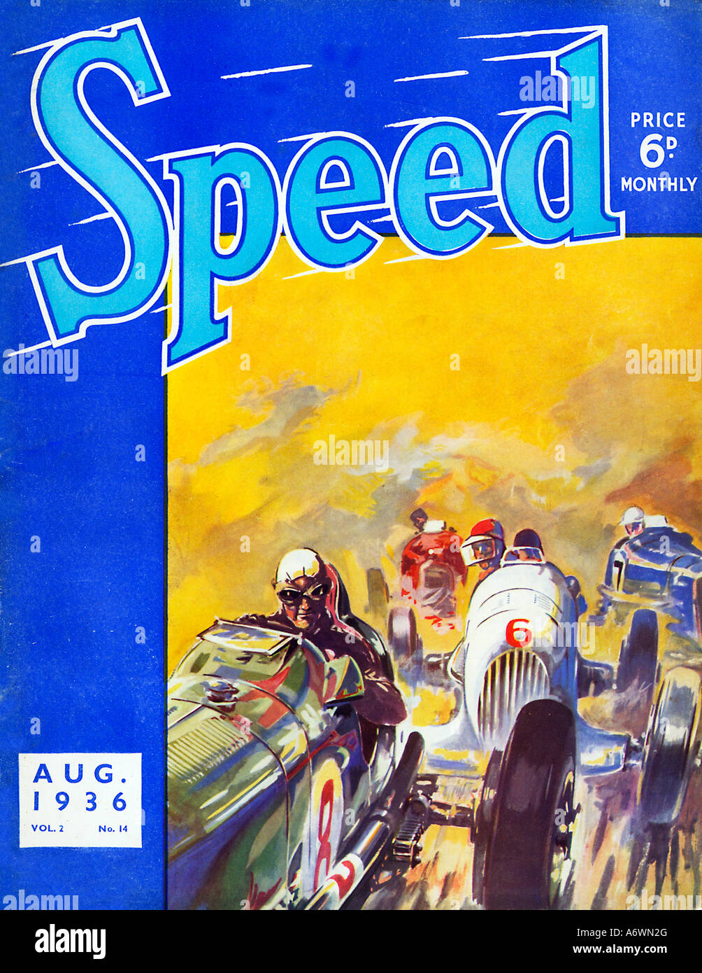 Speed August 1936 cover of the magazine for motor sport enthusiasts shows racing cars jostling for position - Stock Image