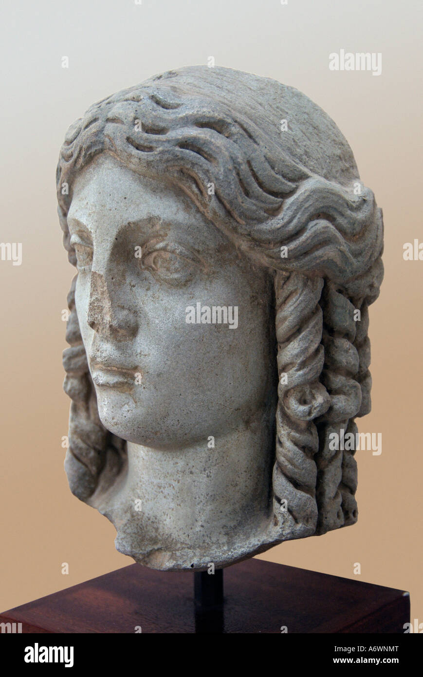 Aphrodite afrodite love god goddess woman head bust marble roman empire Hellenistic hellen paphos pafos myth mythology - Stock Image
