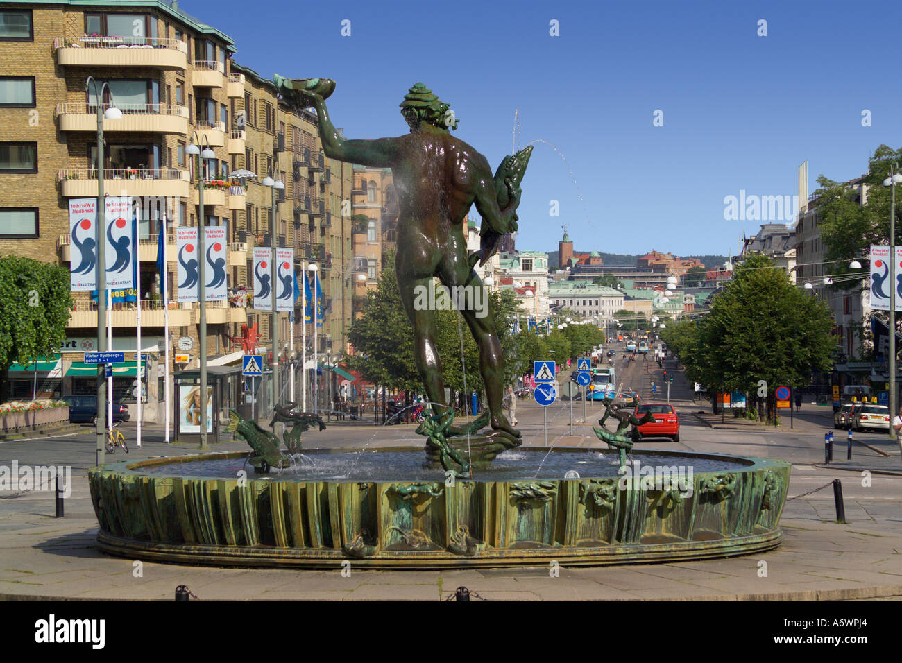Statue of Poseidon and the Avenyn Gothenburg Sweden - Stock Image