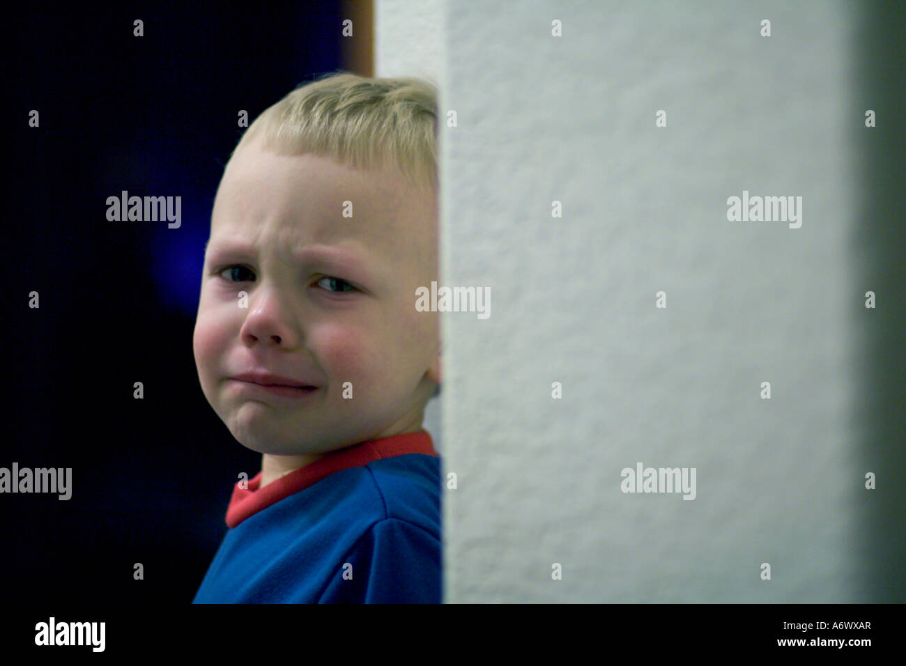 A little boy about to throw a temper tantrum Stock Photo