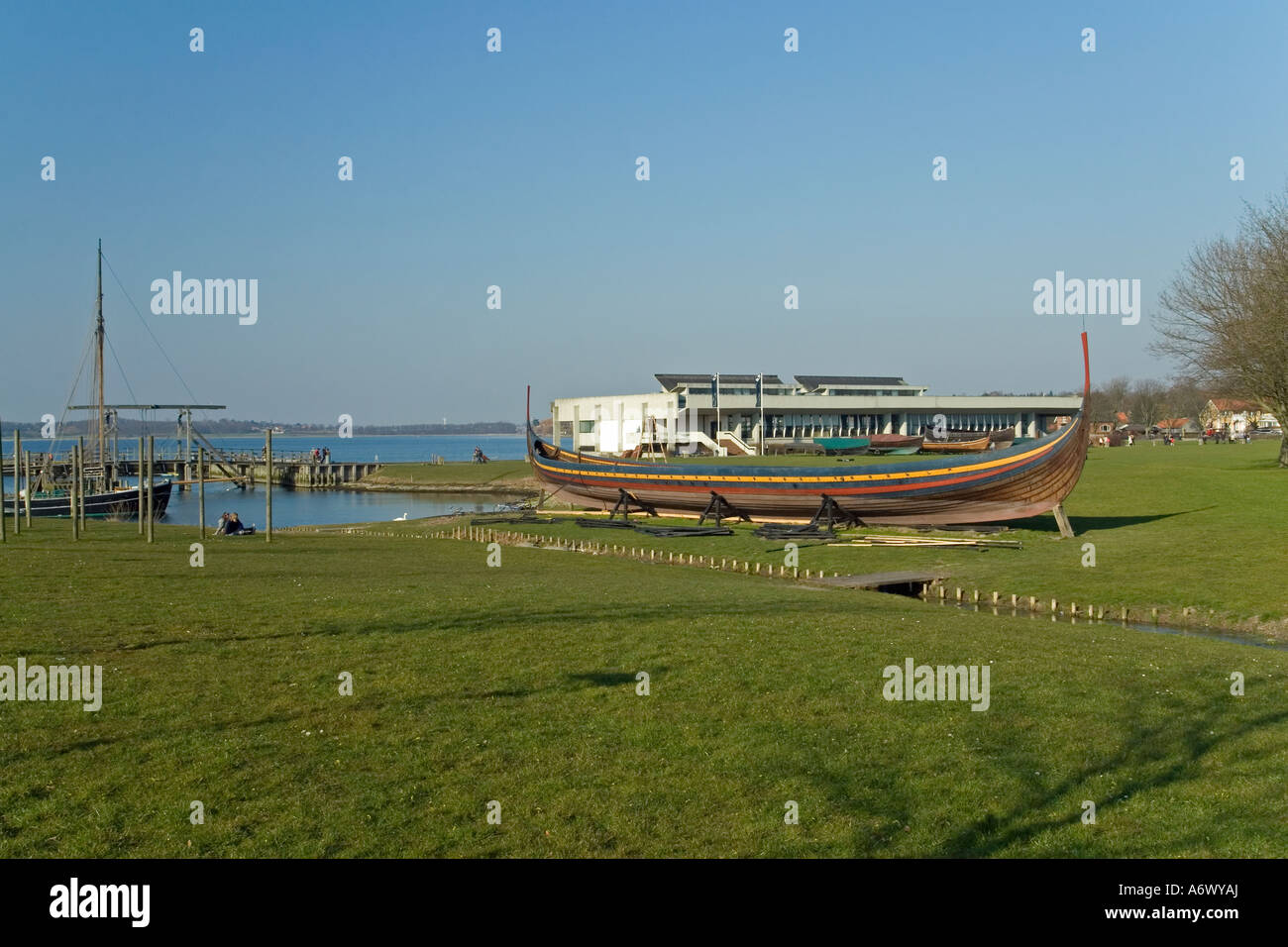 The longship, The Sea Stallion (Søhesten) at the Viking Ship Museum Vikingeskipsmuseet Roskilde Denmark - Stock Image