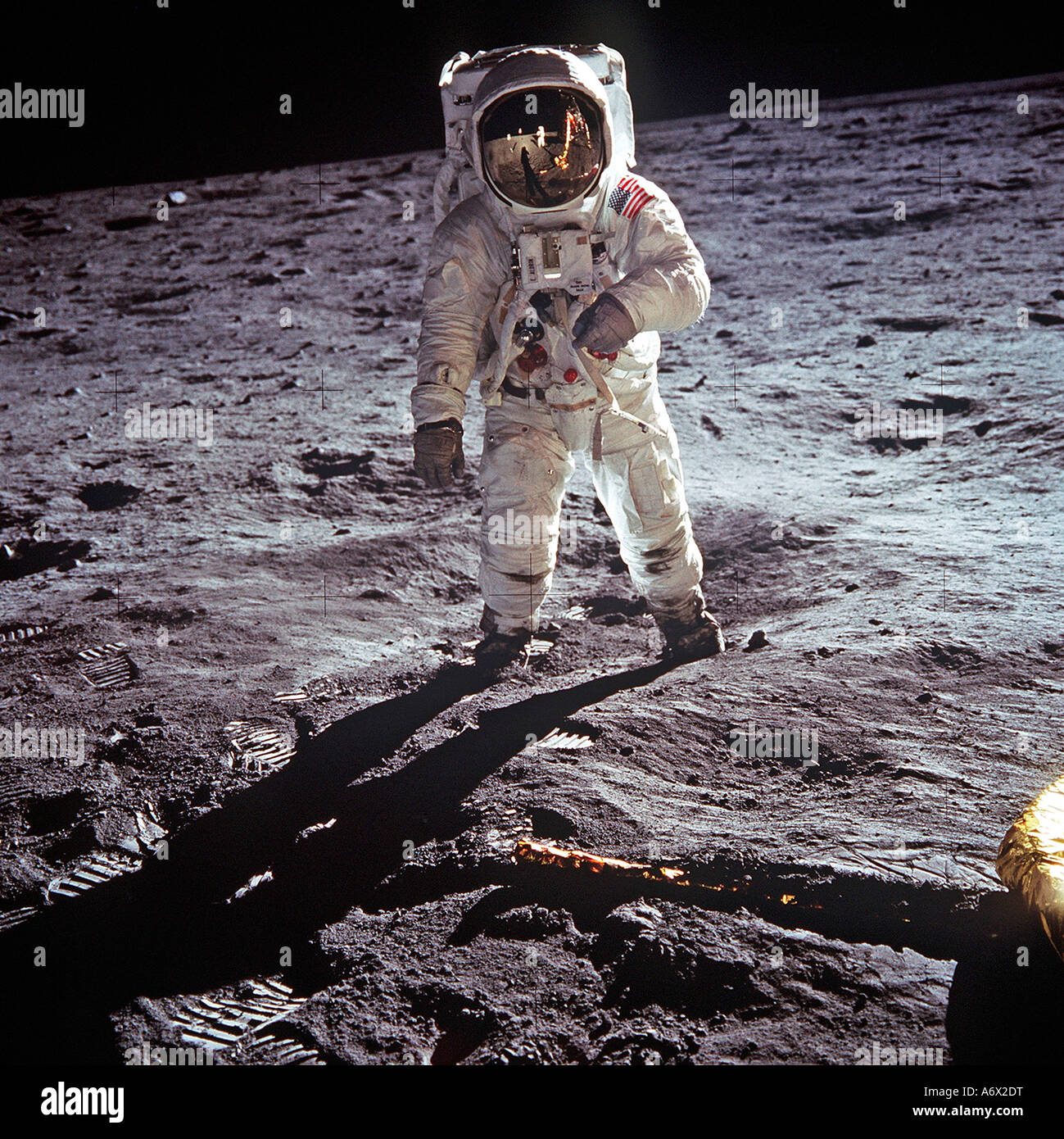 Astronaut Neil Armstrong photographed on moon  as mission commander for the Apollo 11 moon landing on 20 July 1969 - Stock Image