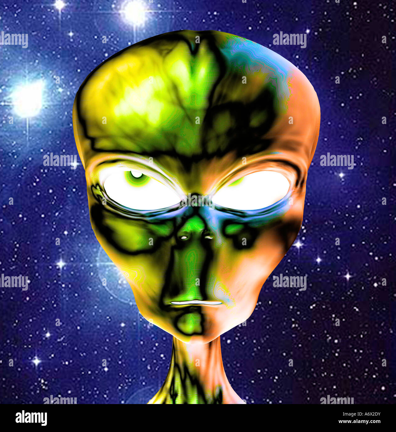 futuristic 3D computer generated bionic male alien head on background of digital NASA view  Milky Way - Stock Image