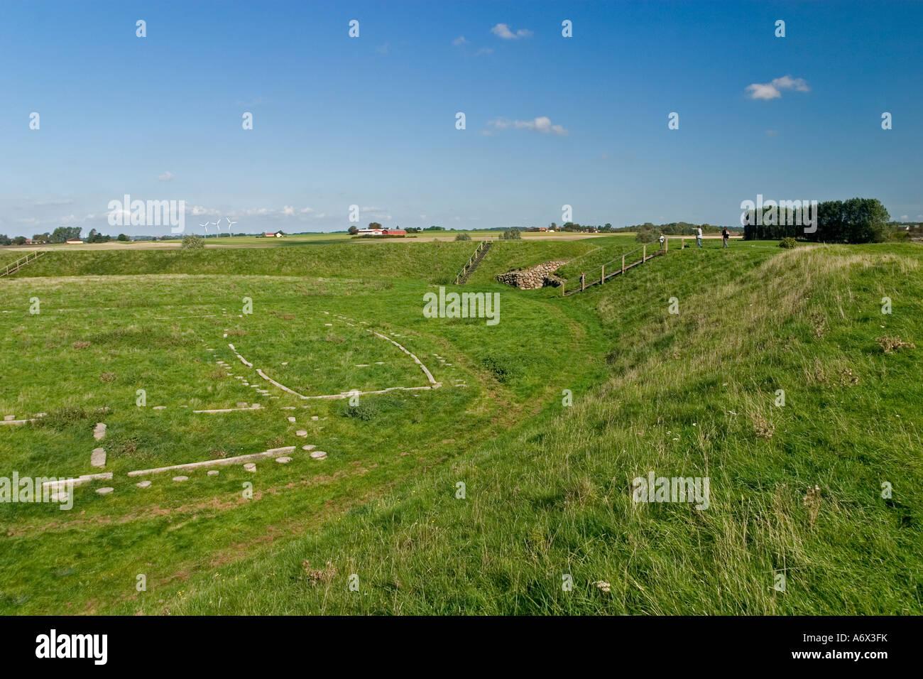 Stones marking a Viking house at Trelleborg Slagelse Denmark - Stock Image