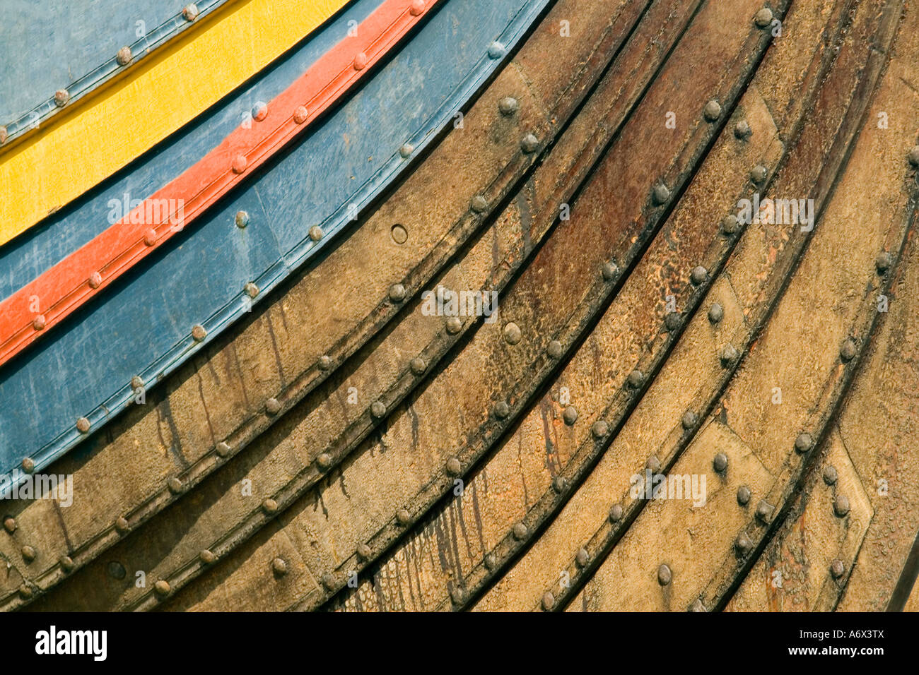 Viking ship bow The Sea Stallion Søhesten at the Viking Ship Museum Vikingeskipsmuseet Roskilde Denmark - Stock Image