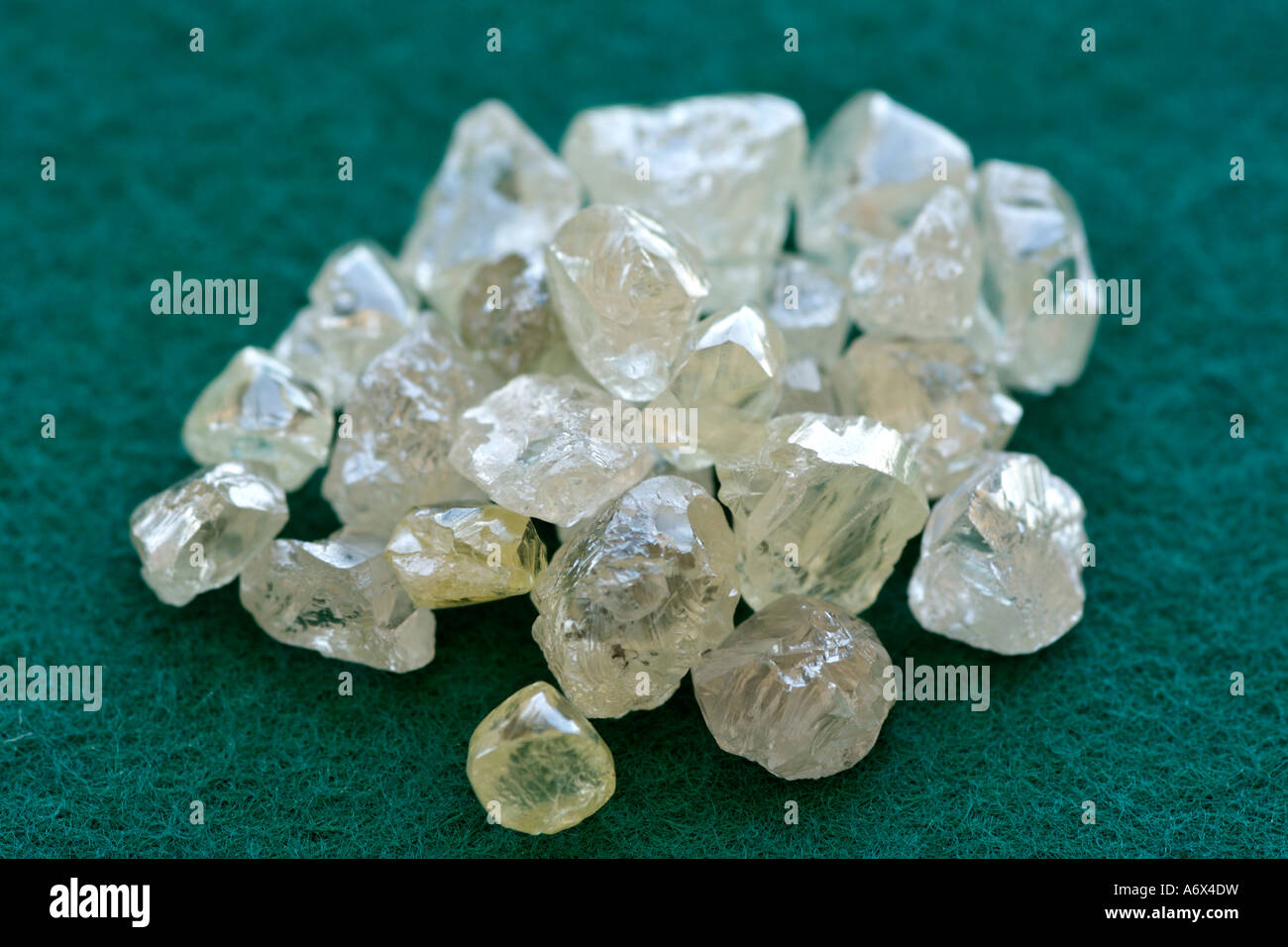 Uncut diamonds in the sorting room at De Beers Diamond Trading Company in Harry Oppenheimer House in Kimberley, - Stock Image