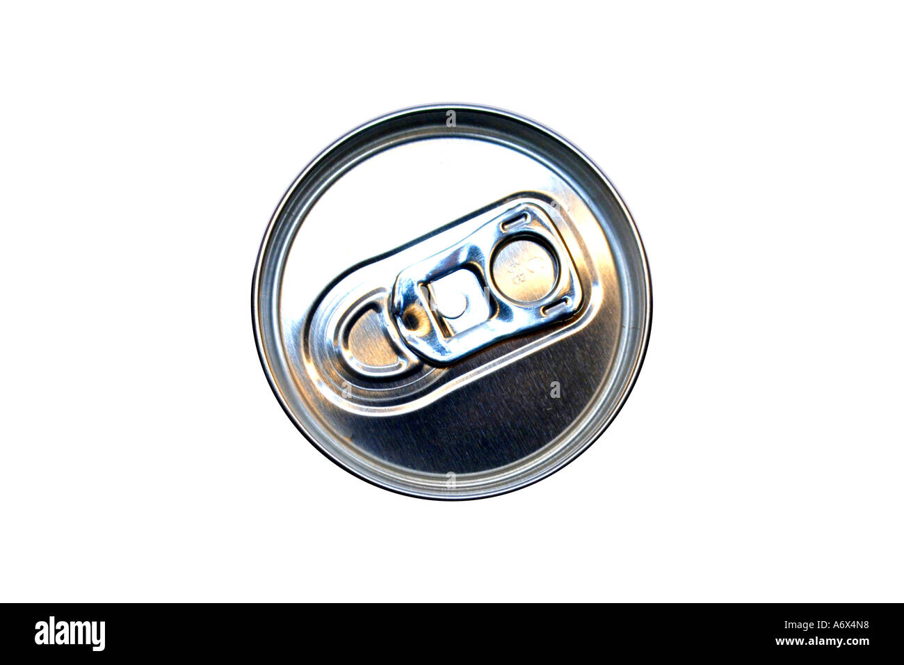 A group of Aluminum Can top and its pull tab. - Stock Image