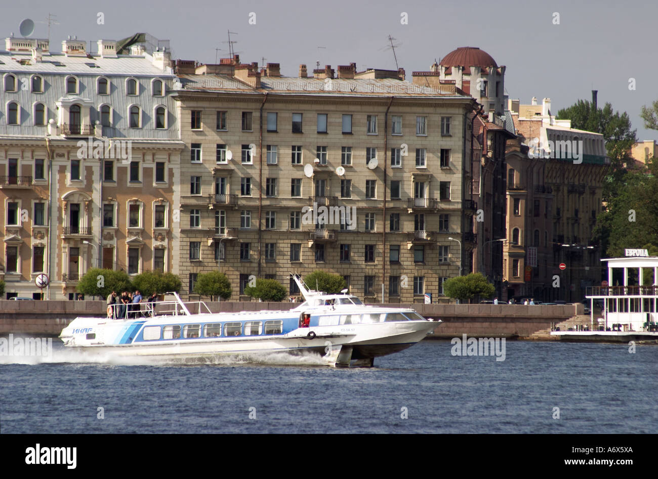 St Petersburg Neva river with spead boat Stock Photo