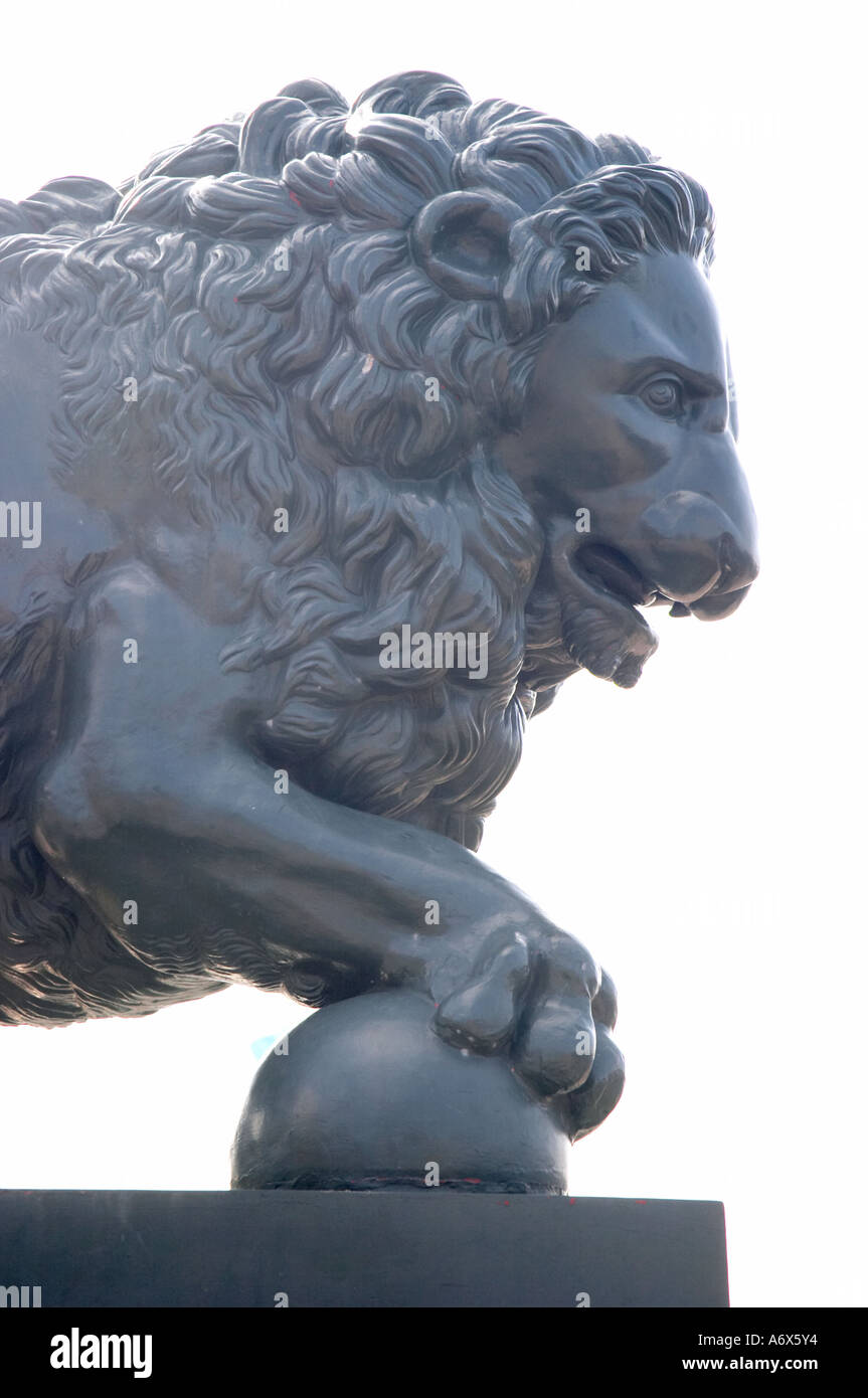 Lion statue St Petersburg Russia Stock Photo