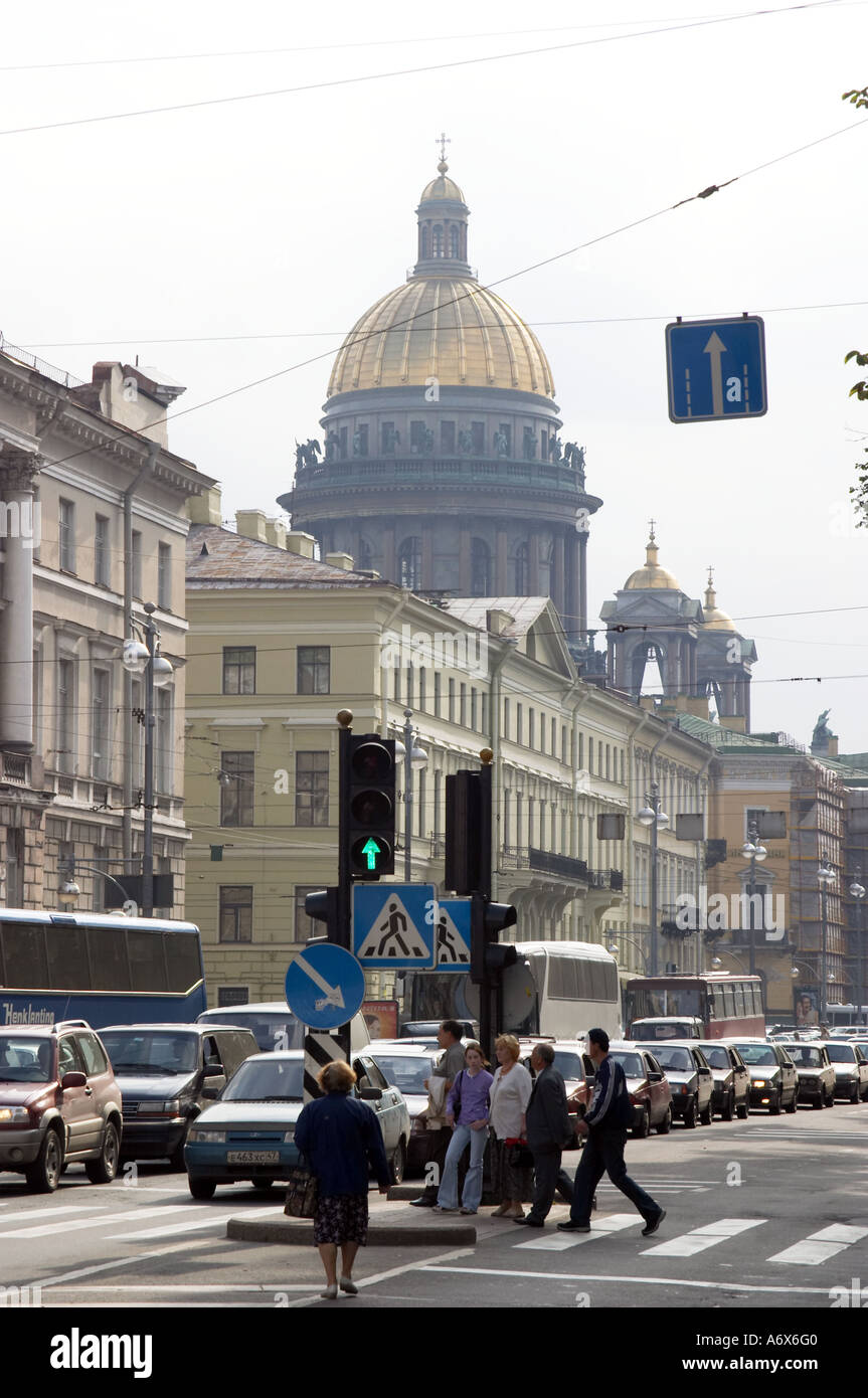 street of st petersburg russia Isaac cathedral on the back side Stock Photo