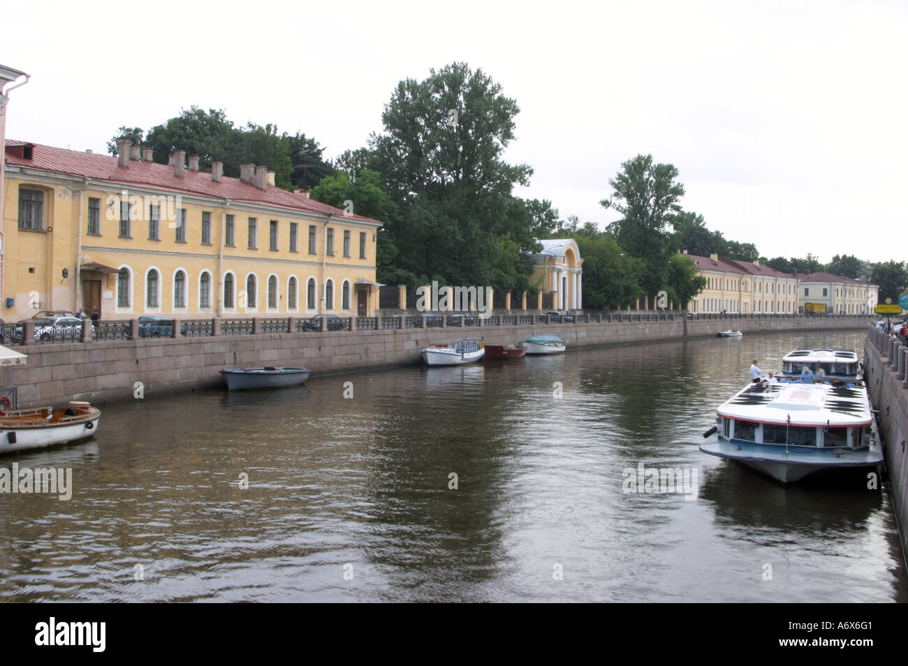 moyka river st petersburg russia one of the most beautiful channels in this city you can see tourists in boats on Stock Photo