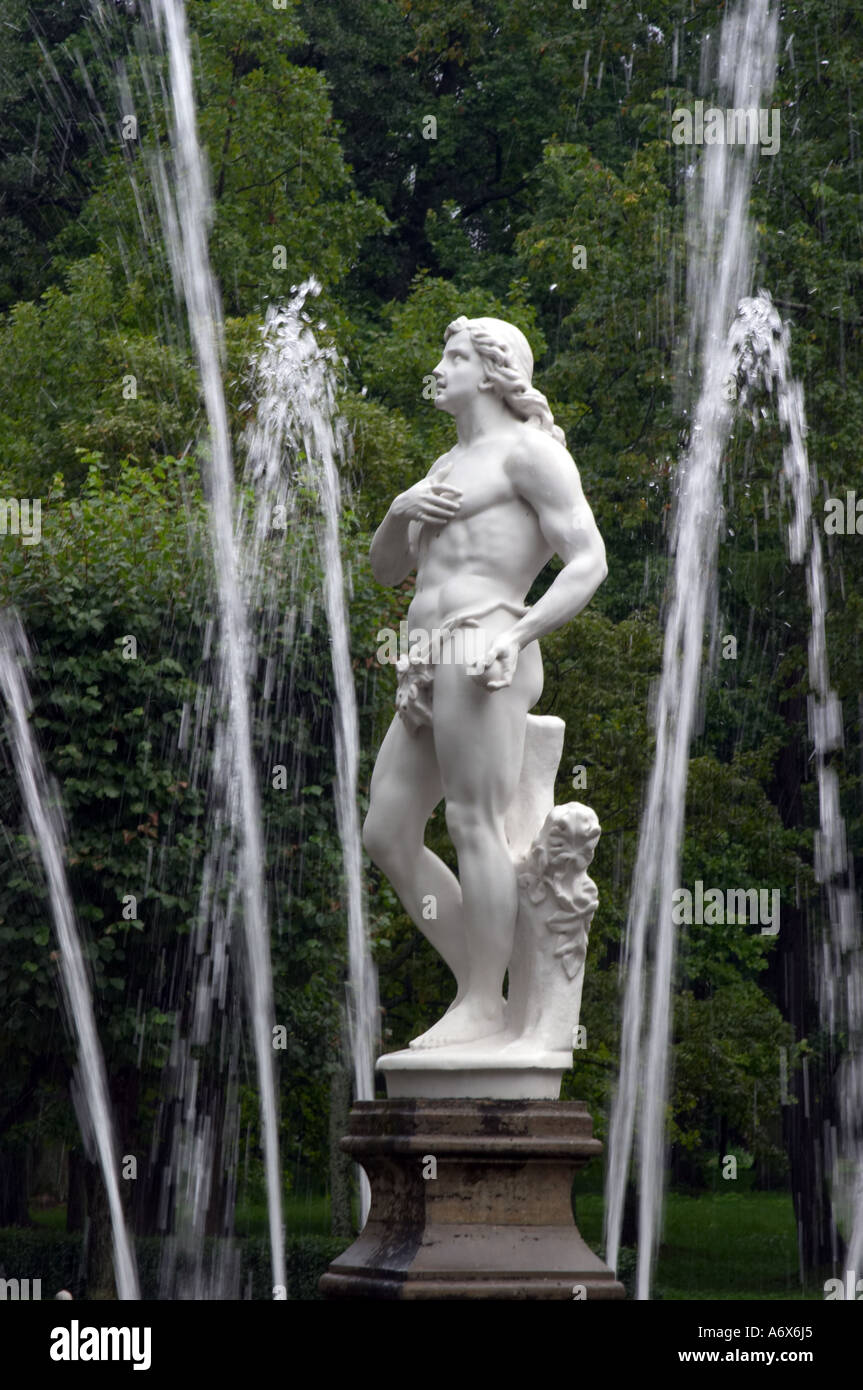 fontain and Statue of Adam in Peterhof Russia Stock Photo