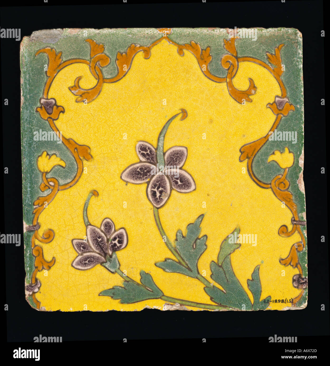 Glazed Tiles. Mughal, Lahore, 17th century. - Stock Image