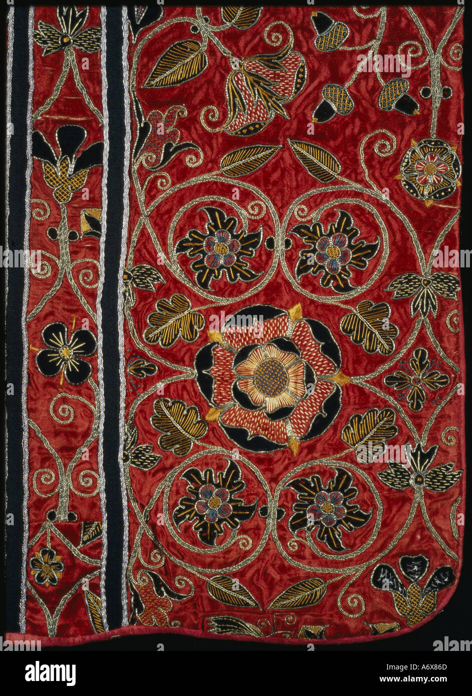 Tudor roses and flowers embroidered on a Chasuble. England, mid 16th century. - Stock Image