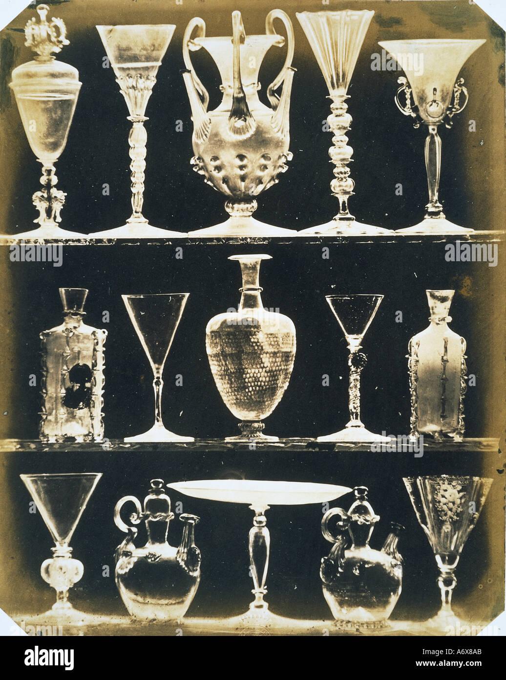 Venetian Vases and Glasses. Photo by Ludwig Belitski. Venice, Italy, 1855. - Stock Image