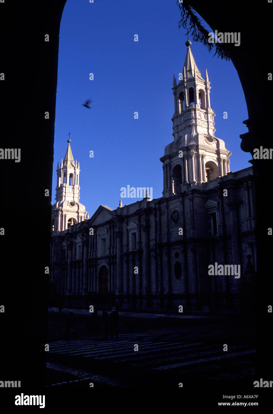 Arequipa s massive two towered cathedral founded 1612 dominates one full side of the Plaza de Armas Arequipa Peru - Stock Image