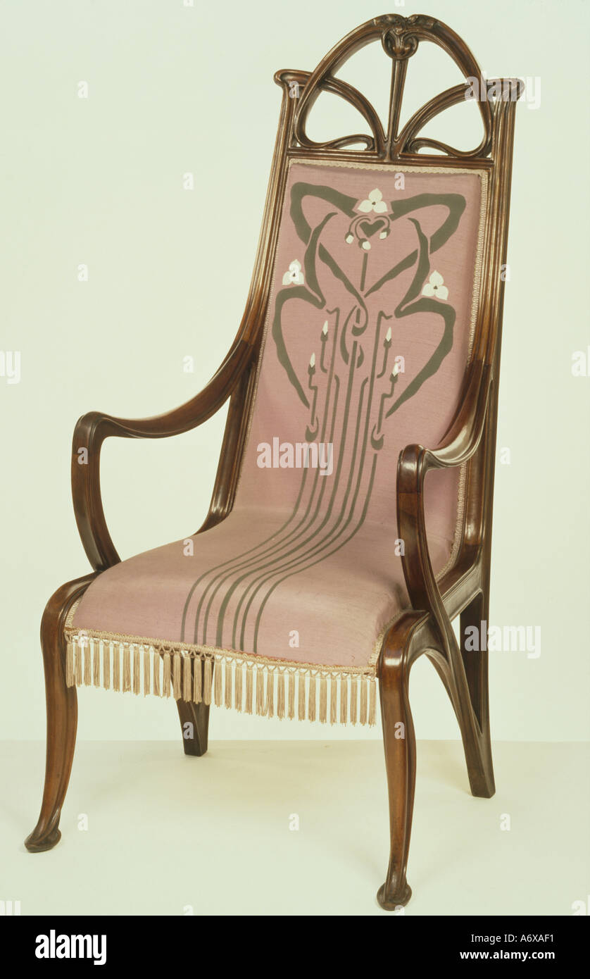Armchair, by Louis Majorelle. France, early 20th century. - Stock Image