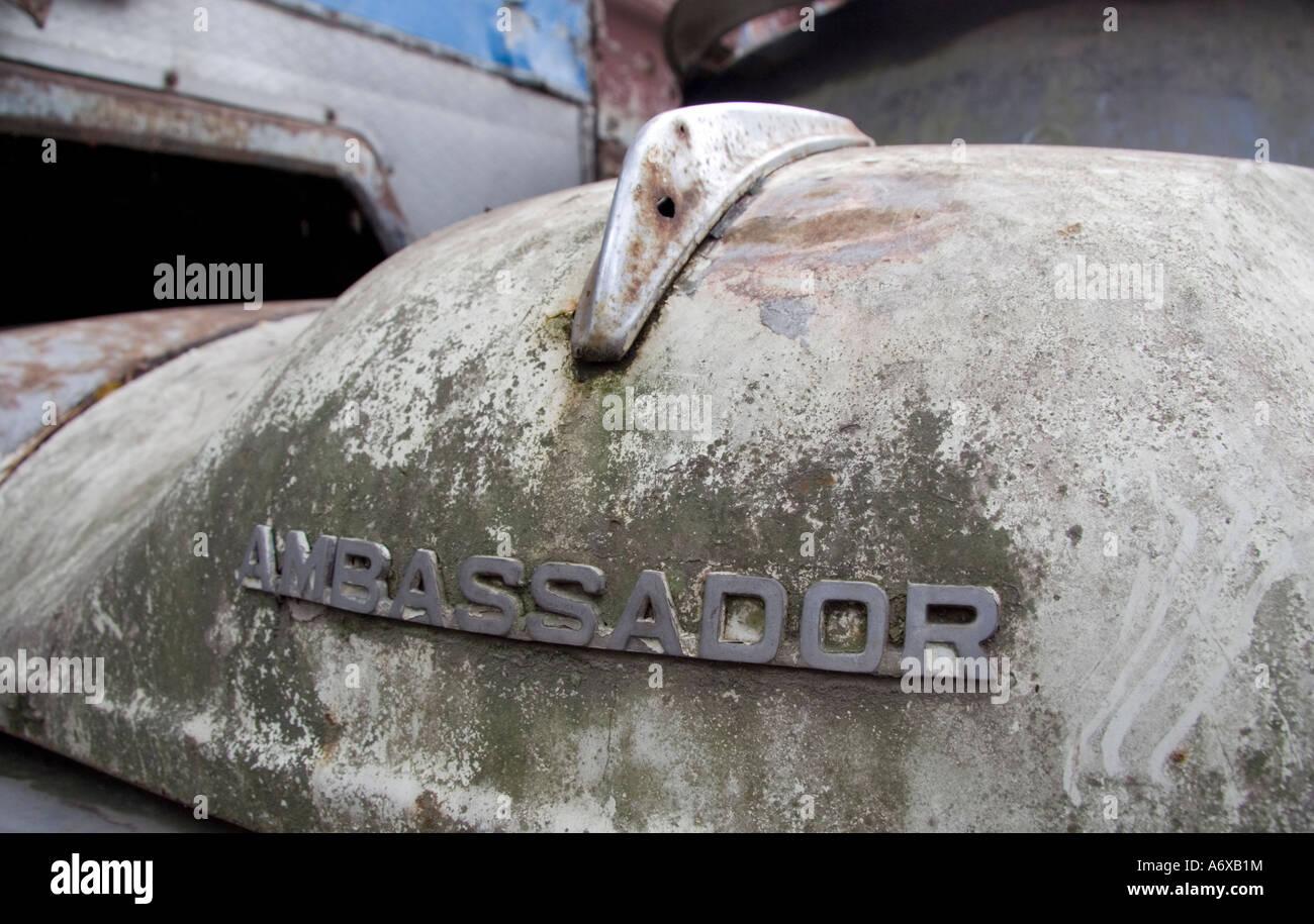 Rusting Hindustan Ambassador Car - Stock Image