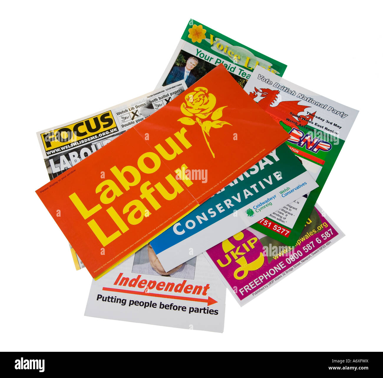 Selection of political party leaflets for UK elections as delivered to Welsh households - Stock Image