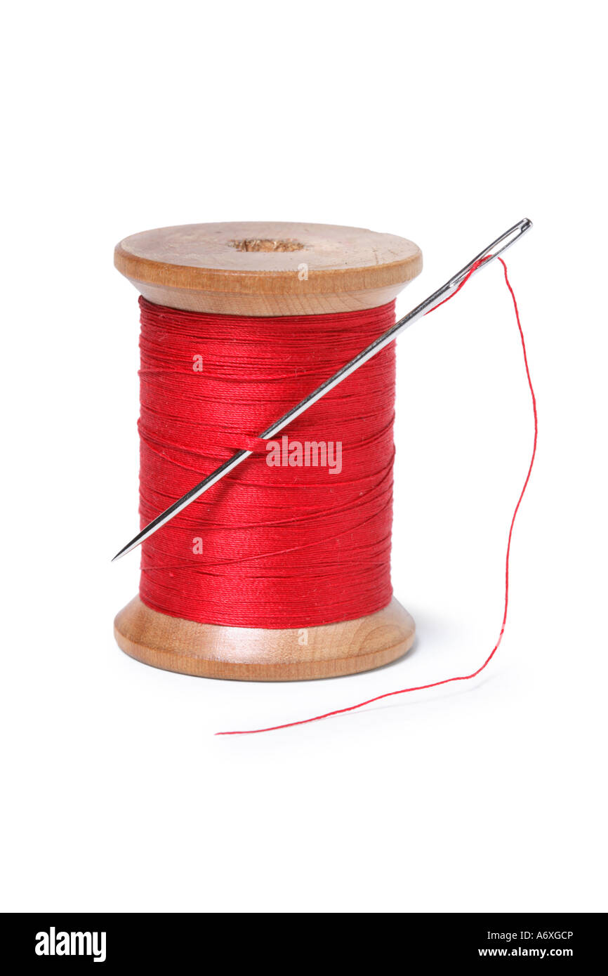 Spool of red thread and needle cut out on white background - Stock Image