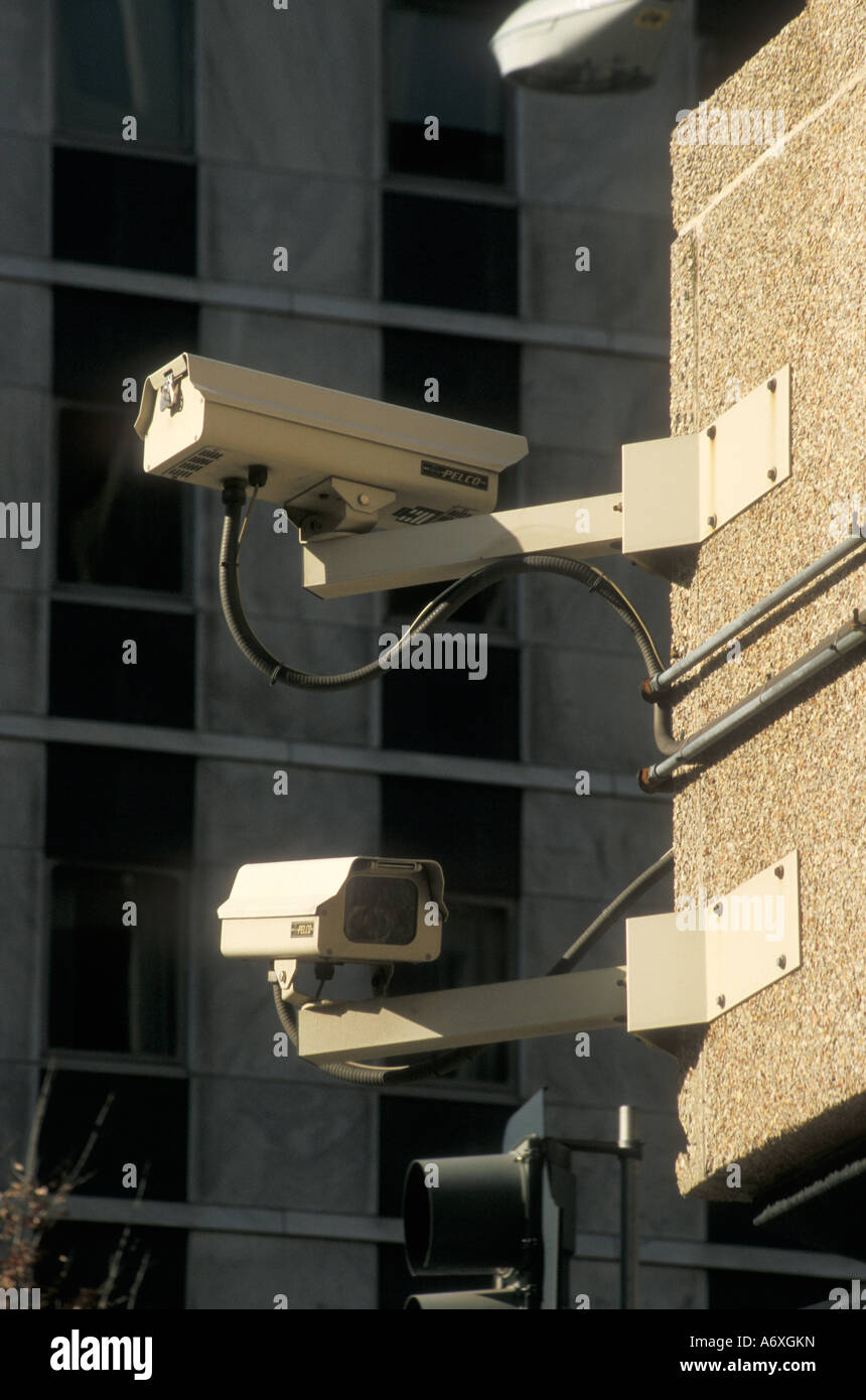 Washington DC Security cameras mounted on a building near the White House - Stock Image