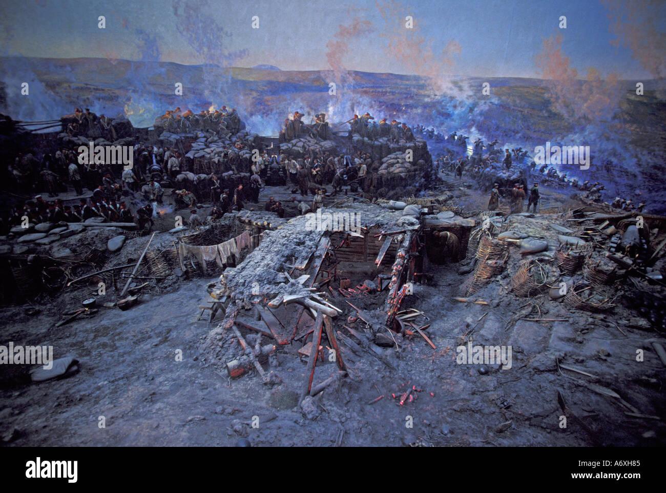 EU, Ukraine, Sevastopol, Panorama museum, huge painting of 1855 Crimean War seige - Stock Image