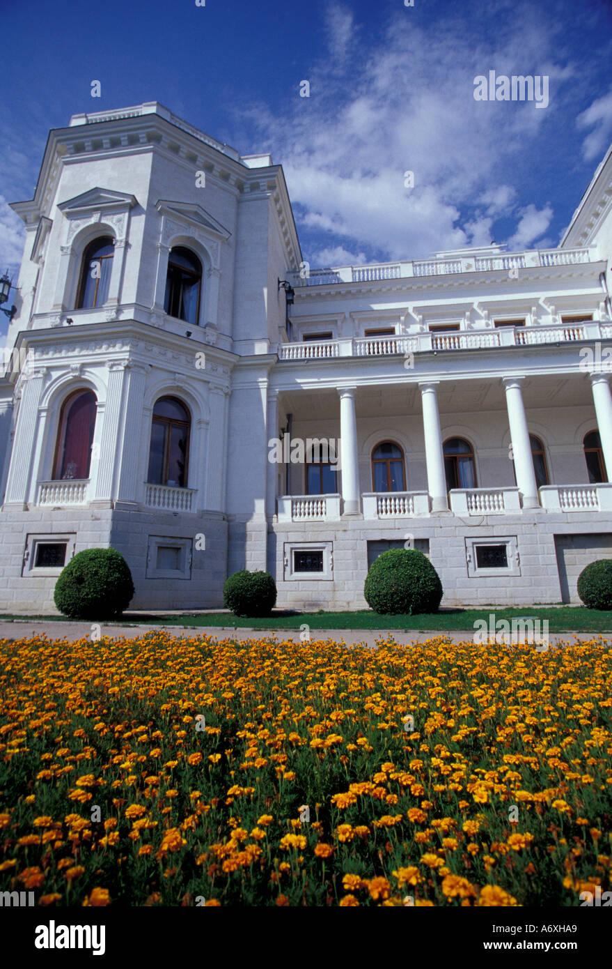 EU, Ukraine, Yalta, Livadiya, Tsar Nicholas II summer palace; site of 1945 Yalta Convention, garden - Stock Image