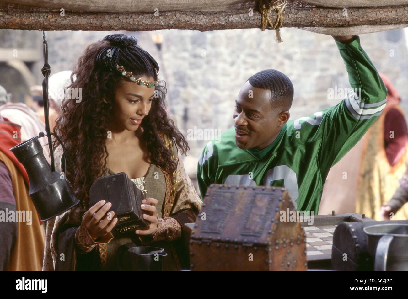 BLACK KNIGHT 2001 20th Century Fox film with Martin Lawrence as Jamal and Marsha Thomason as Victoria - Stock Image