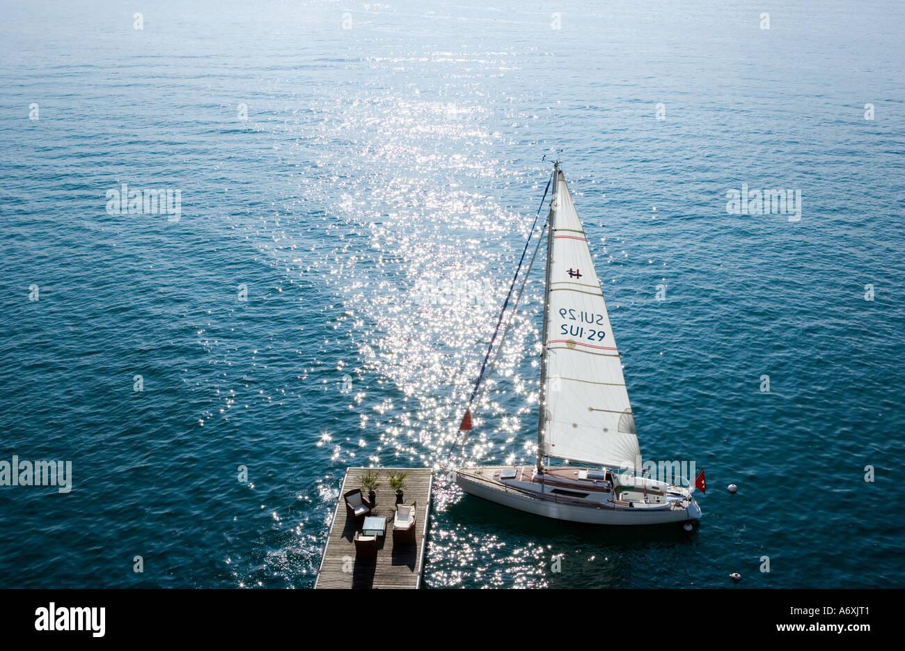 Switzerland Berner Oberland Yacht on lake Thunersee - Stock Image