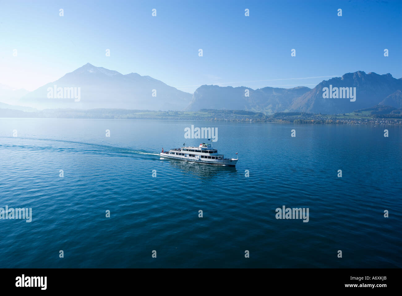 Switzerland Tourist boat on thunersee berner oberland - Stock Image