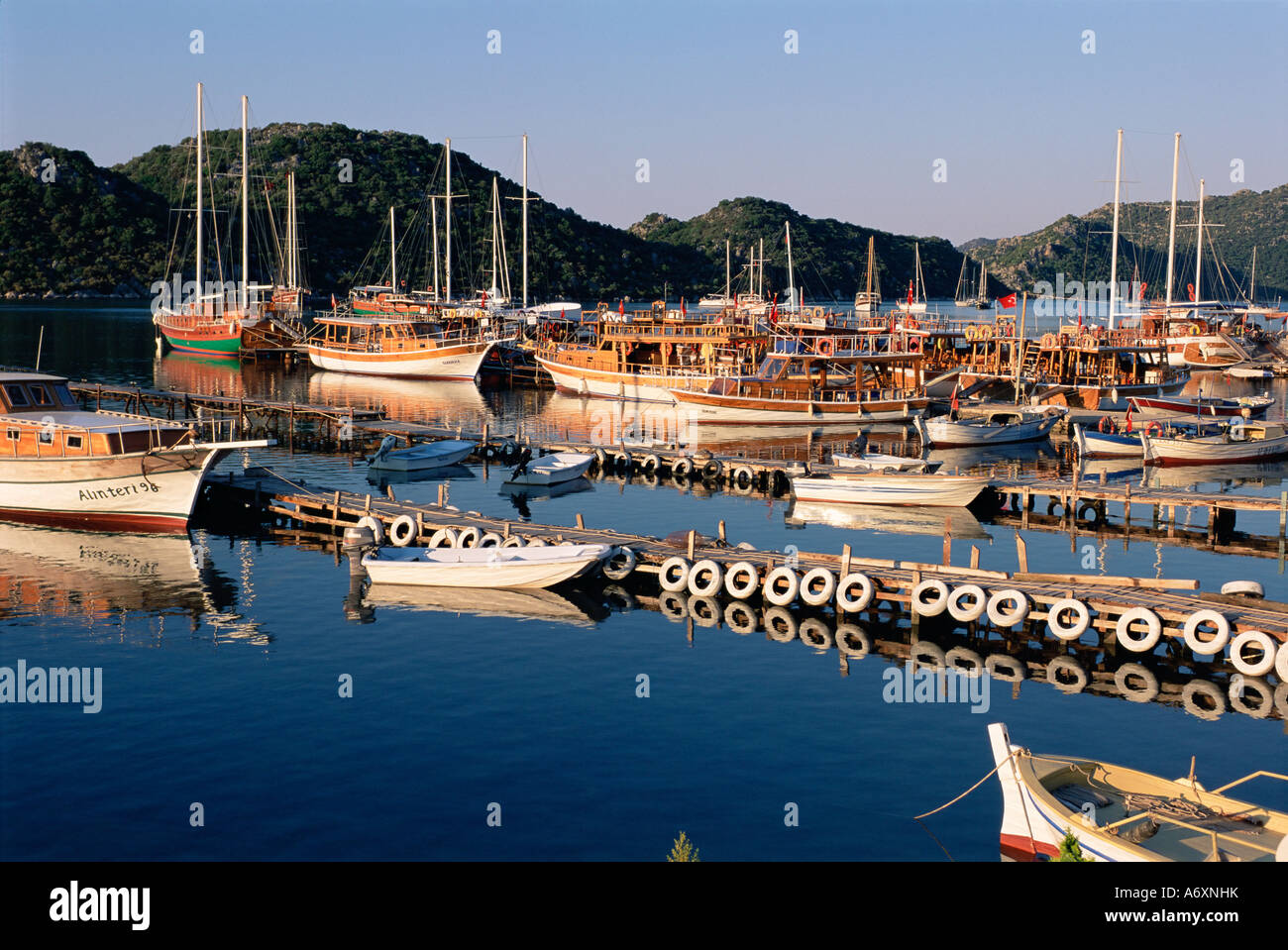 Village of Ucagiz Kekova Bay Lycia Anatolia Turkey Asia Minor Asia Stock Photo
